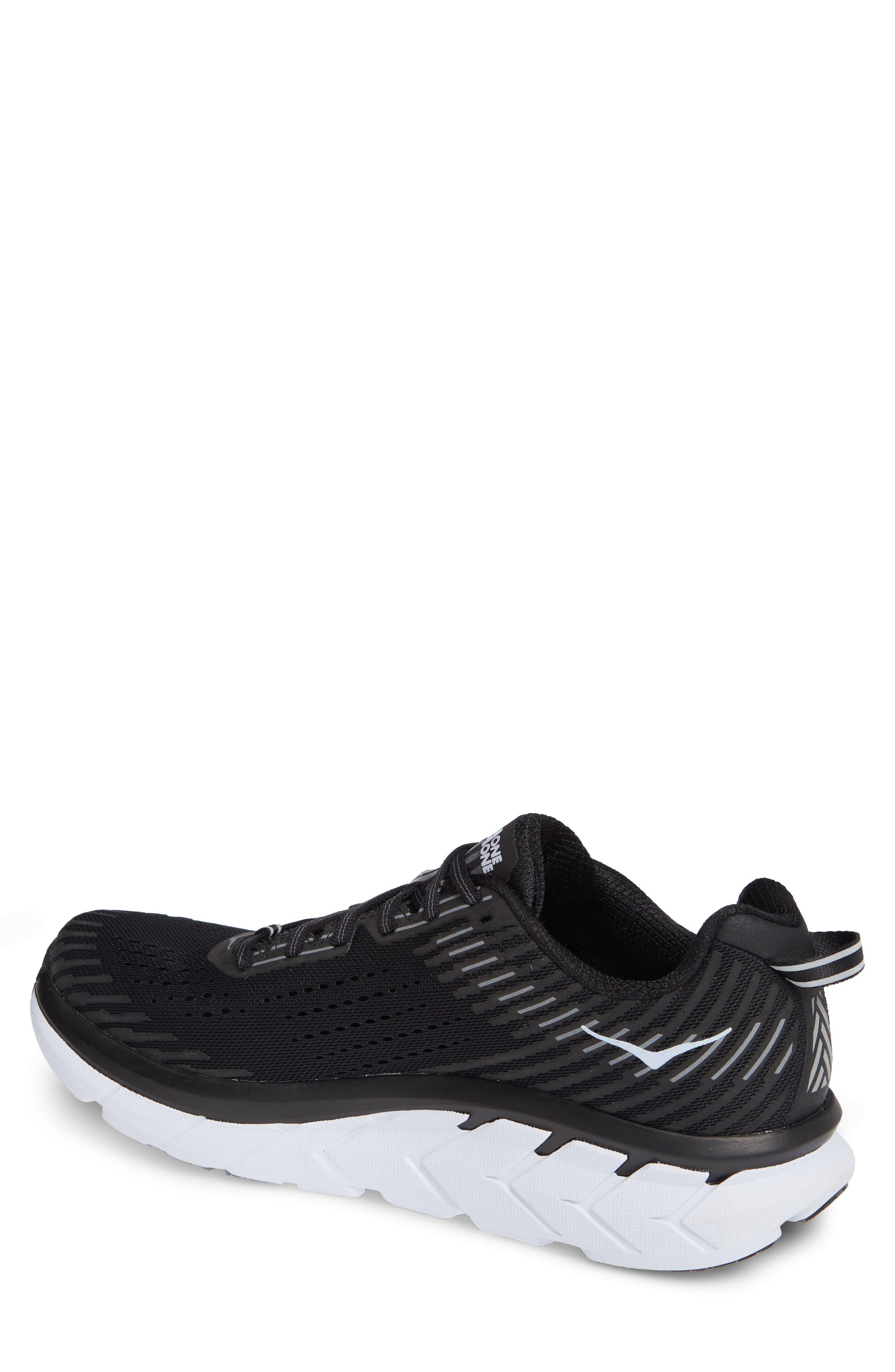 Clifton 5 Running Shoe,                             Alternate thumbnail 2, color,                             BLACK/ WHITE