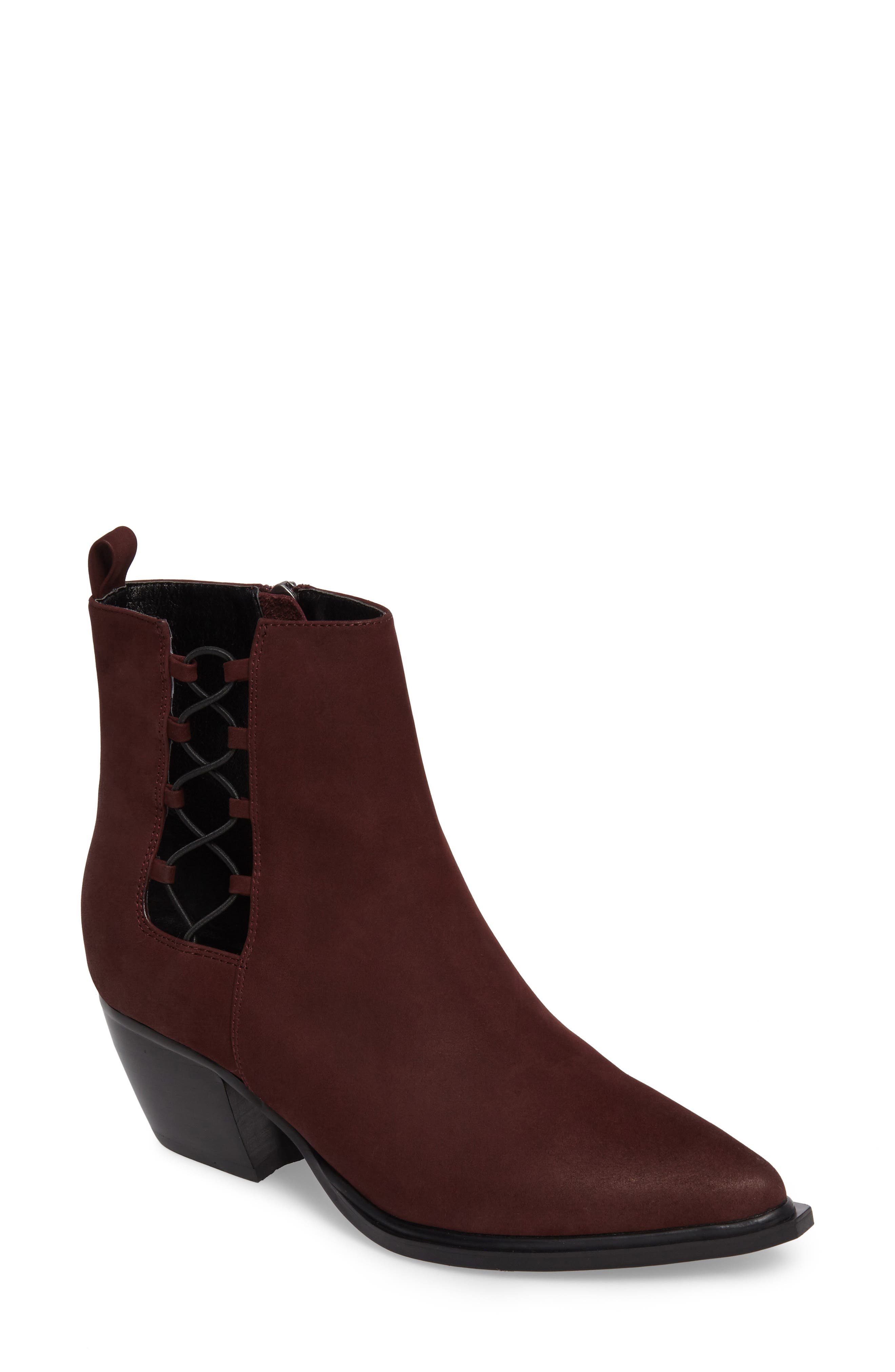Hackney Corset Bootie,                         Main,                         color, WINE LEATHER