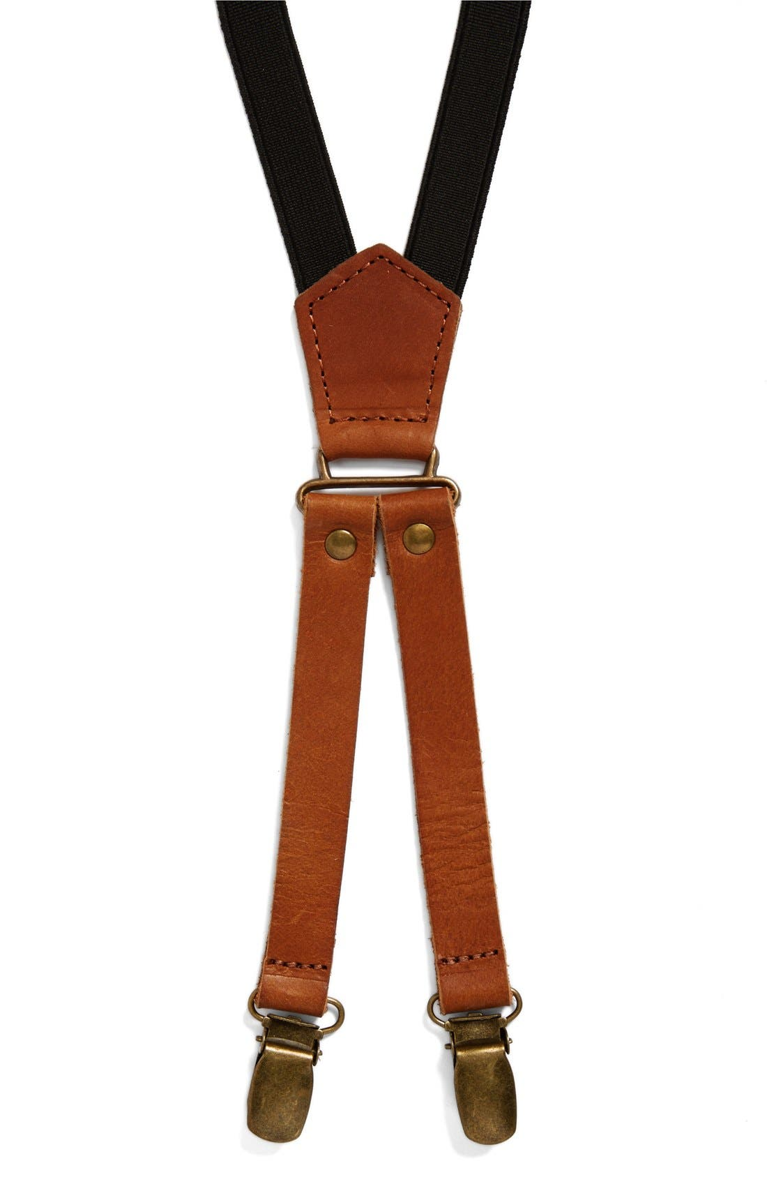 Skinny Leather Suspenders,                             Main thumbnail 1, color,                             200