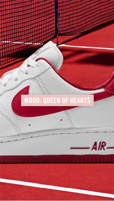Nordstrom x Nike moodboard: queen of hearts. Nike Air Force 1 '07 SE sneakers.