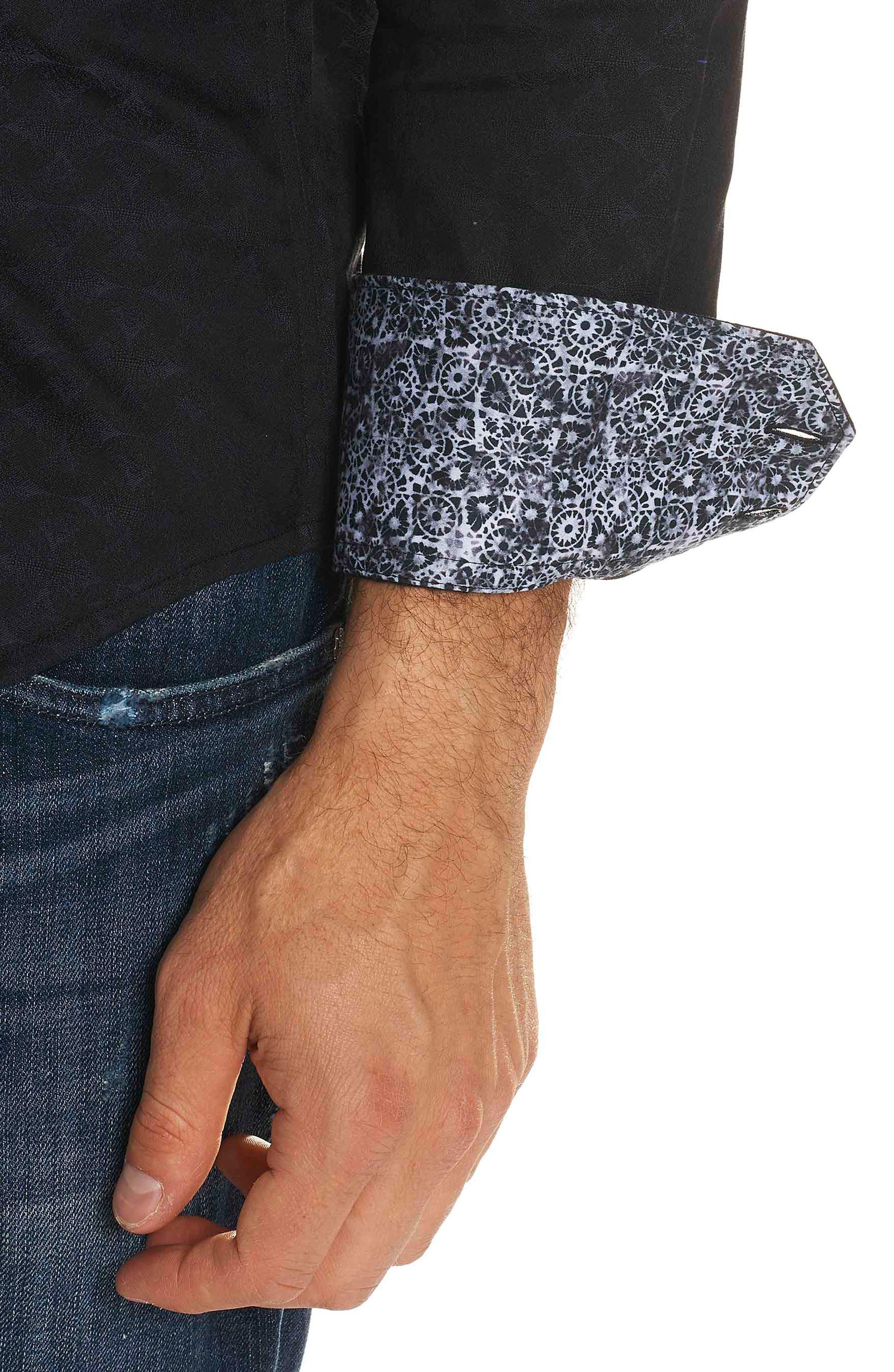 Diamante Classic Fit Print Sport Shirt,                             Alternate thumbnail 3, color,                             BLACK