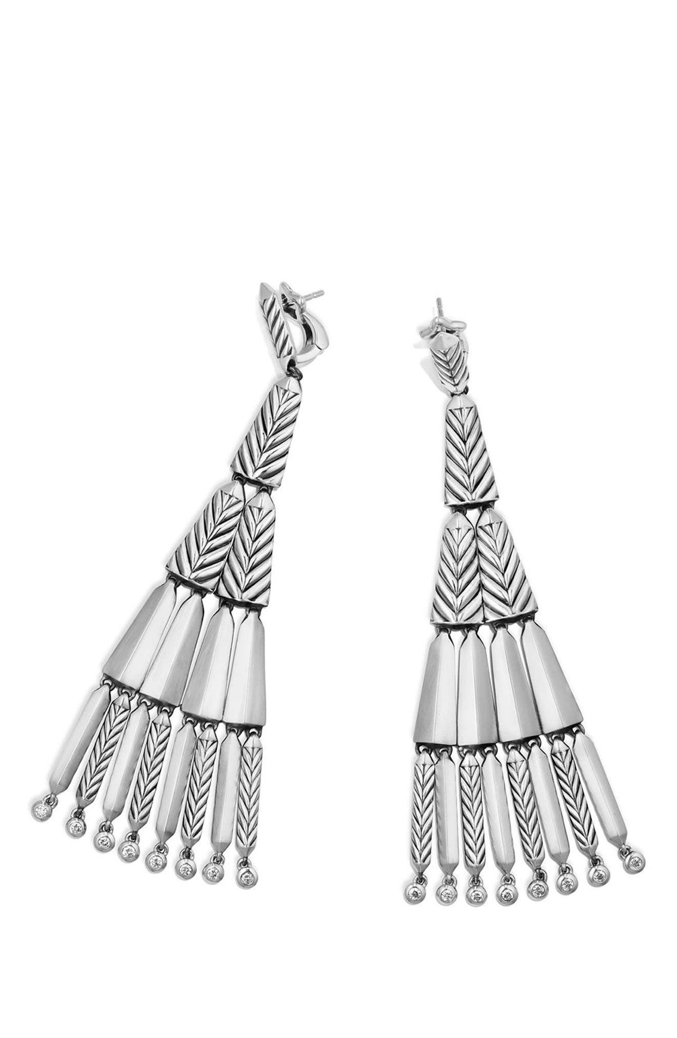 Stax Fringe Earrings with Diamonds,                             Alternate thumbnail 3, color,                             SILVER
