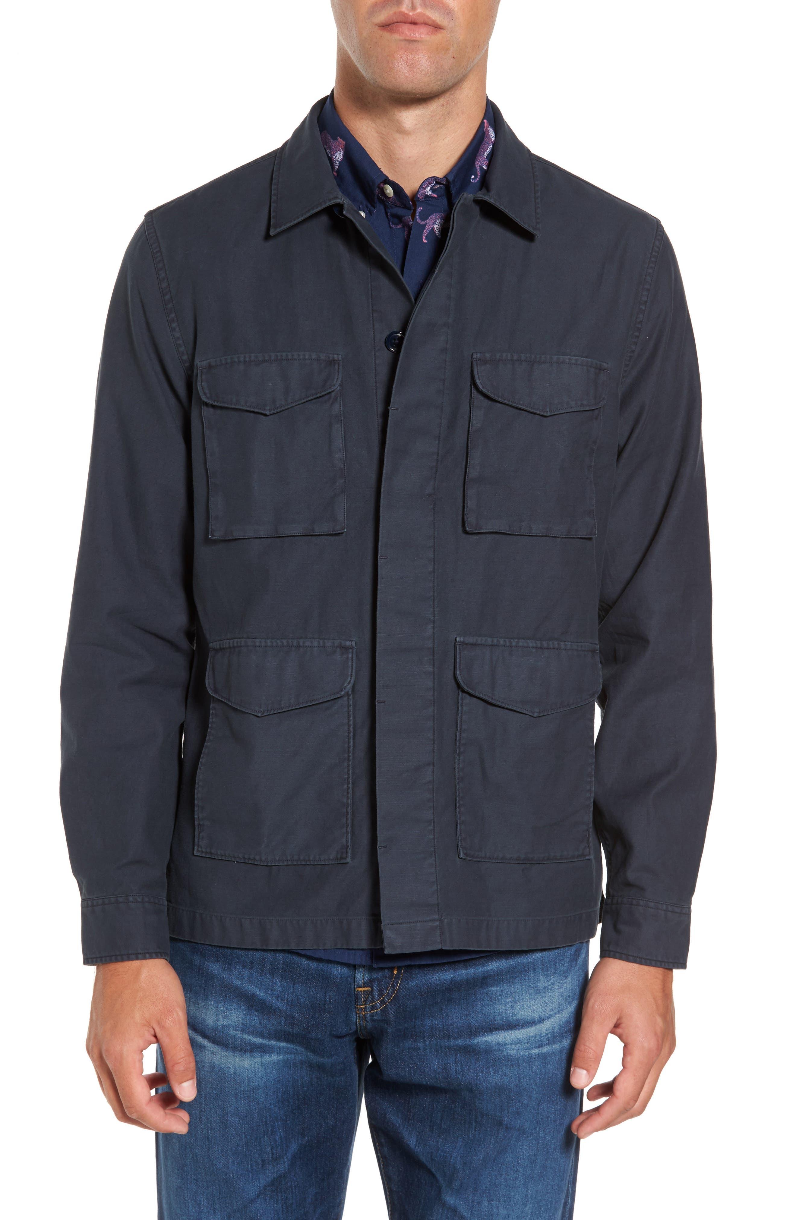 Men's Vintage Workwear – 1920s, 1930s, 1940s, 1950s Mens Bonobos Four-Pocket Military Jacket Size X-Small - Blue $63.98 AT vintagedancer.com