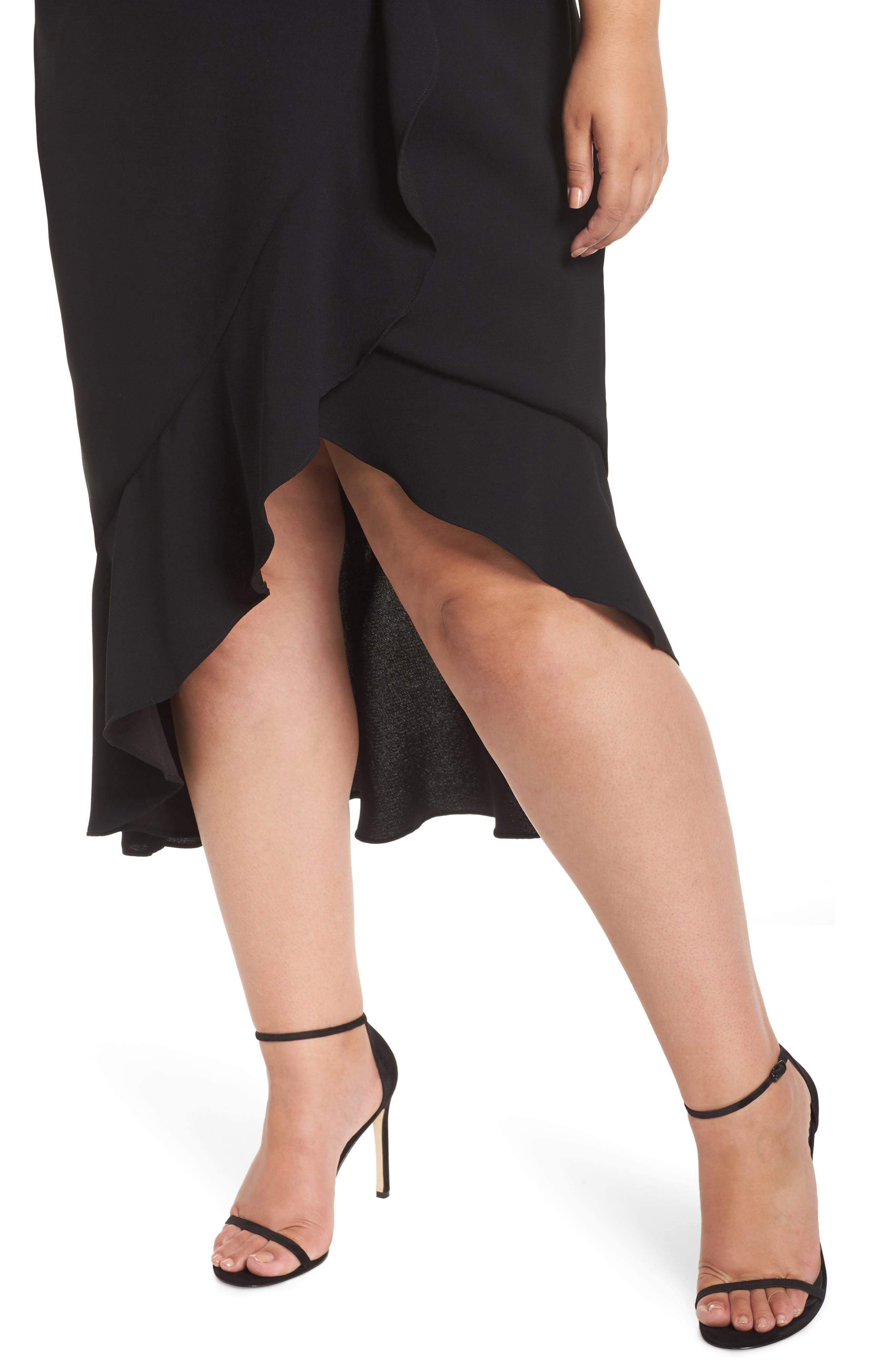 Off the Shoulder Ruffle Midi Dress,                             Alternate thumbnail 4, color,                             BLACK