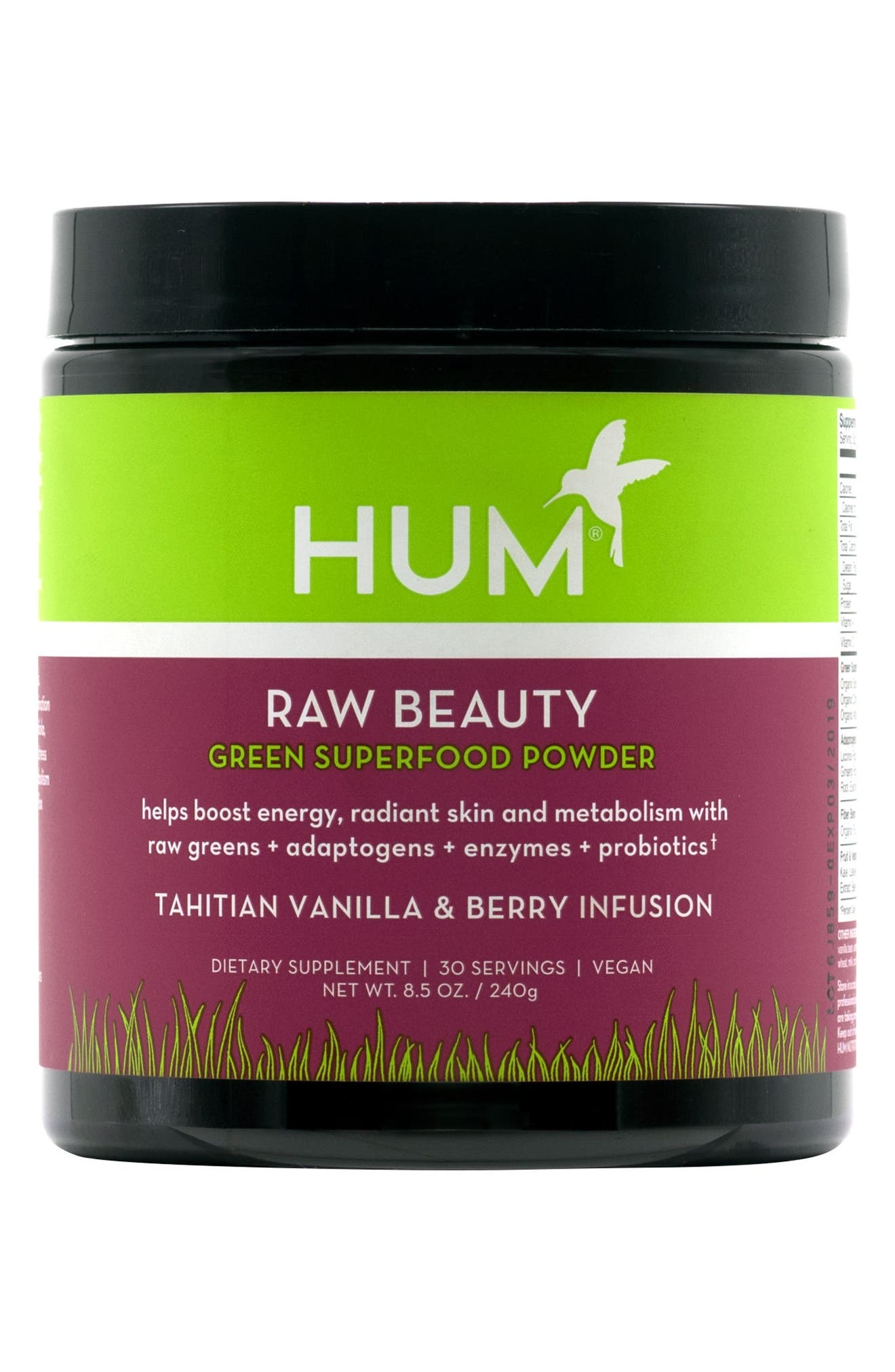 Raw Beauty Tahitian Vanilla & Berry Infusion Skin & Energy Green Superfood Powder,                         Main,                         color, NO COLOR