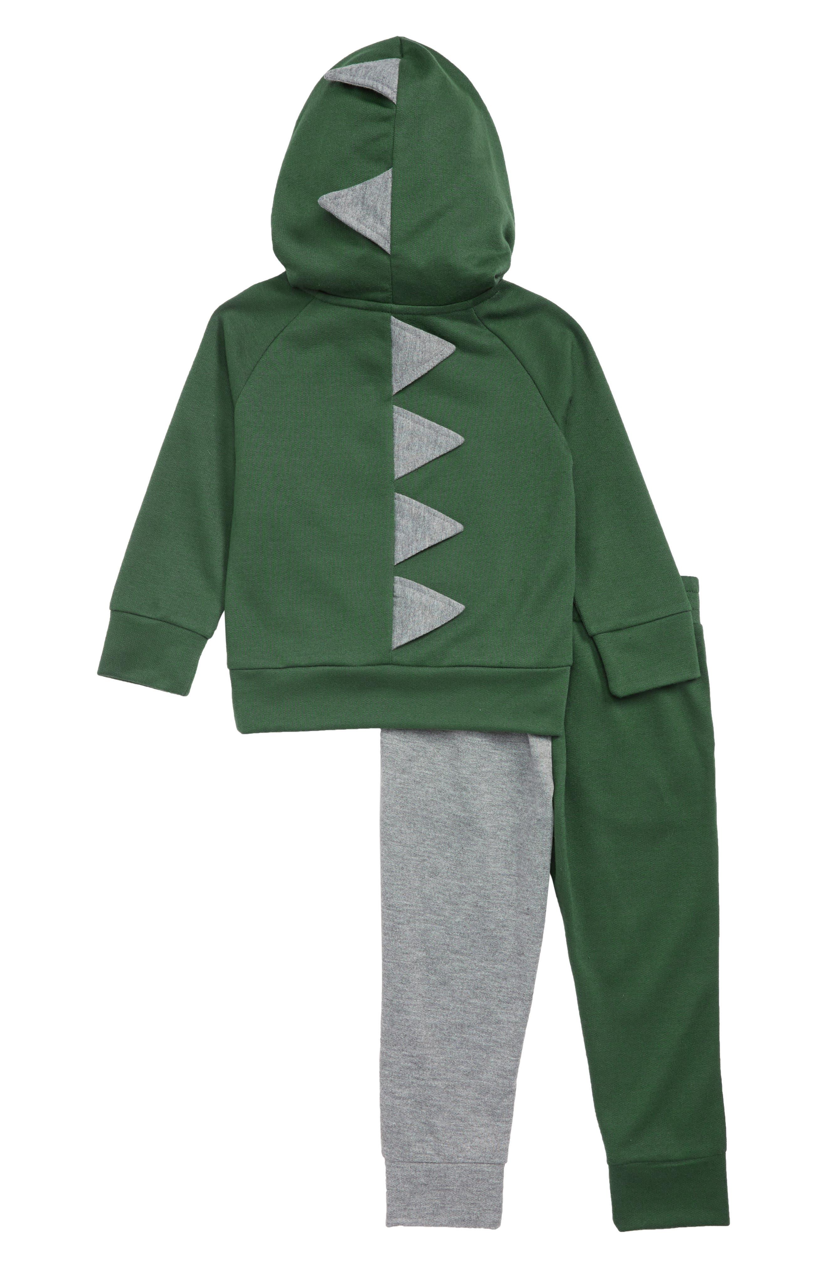 Dinosaur 2-Piece Hoodie Pajamas,                             Alternate thumbnail 2, color,                             GREEN PINECONE