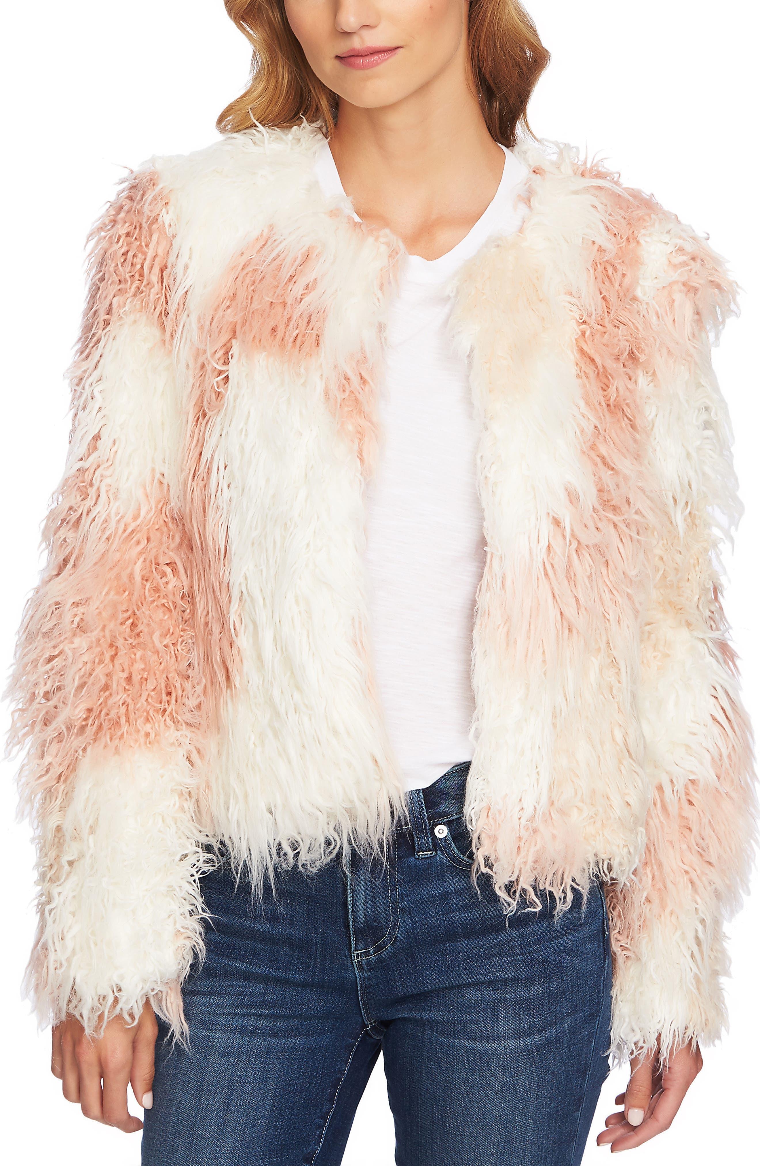 Shaggy Patchwork Faux Fur Jacket,                             Main thumbnail 1, color,                             ANTIQUE WHITE