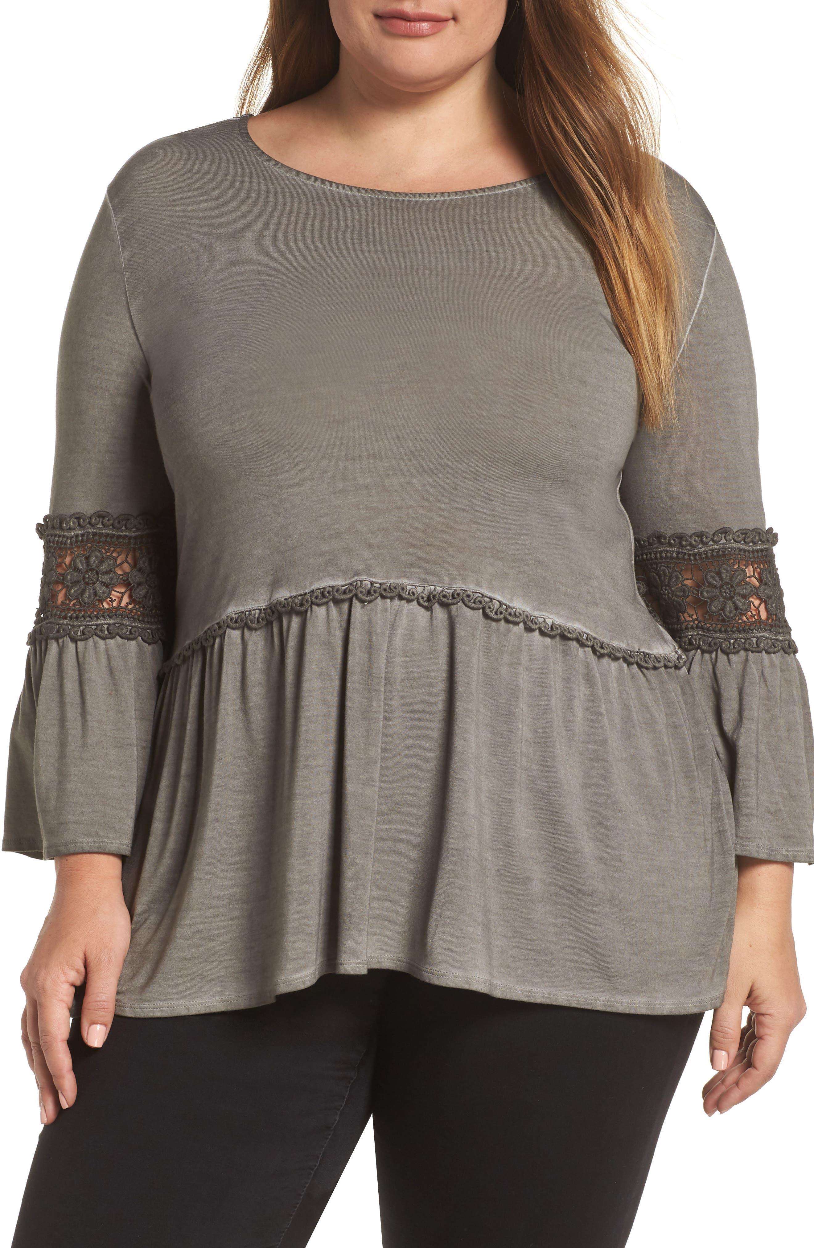 DANTELLE,                             Oil Dye Knit Lace Inset Top,                             Main thumbnail 1, color,                             FALCON