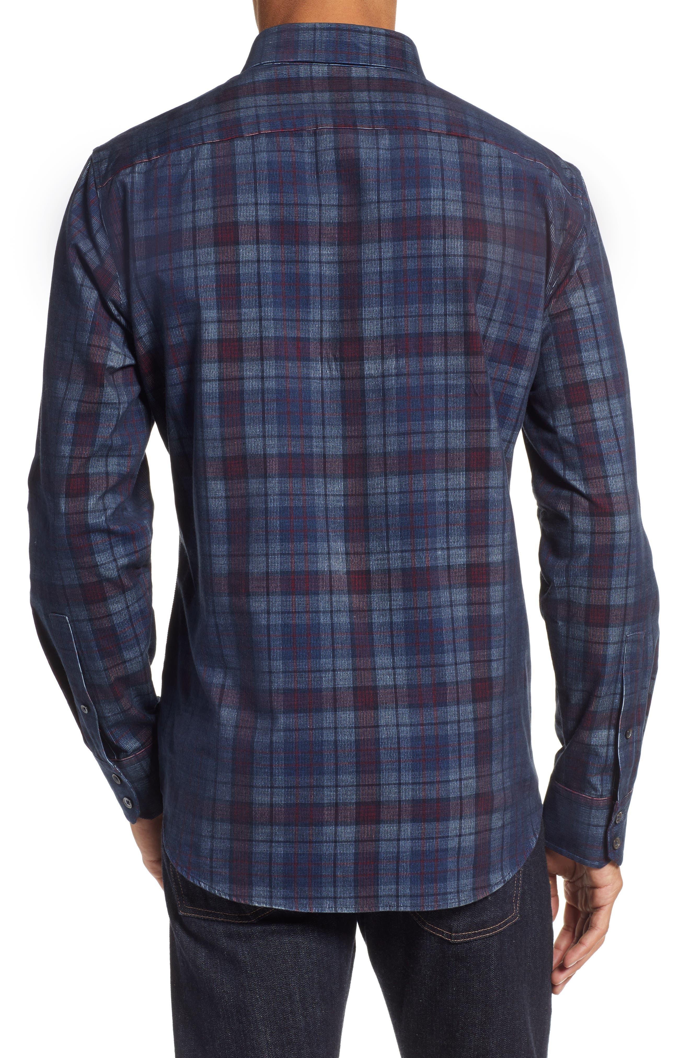 Lemke Regular Fit Corduroy Sport Shirt,                             Alternate thumbnail 3, color,                             NAVY