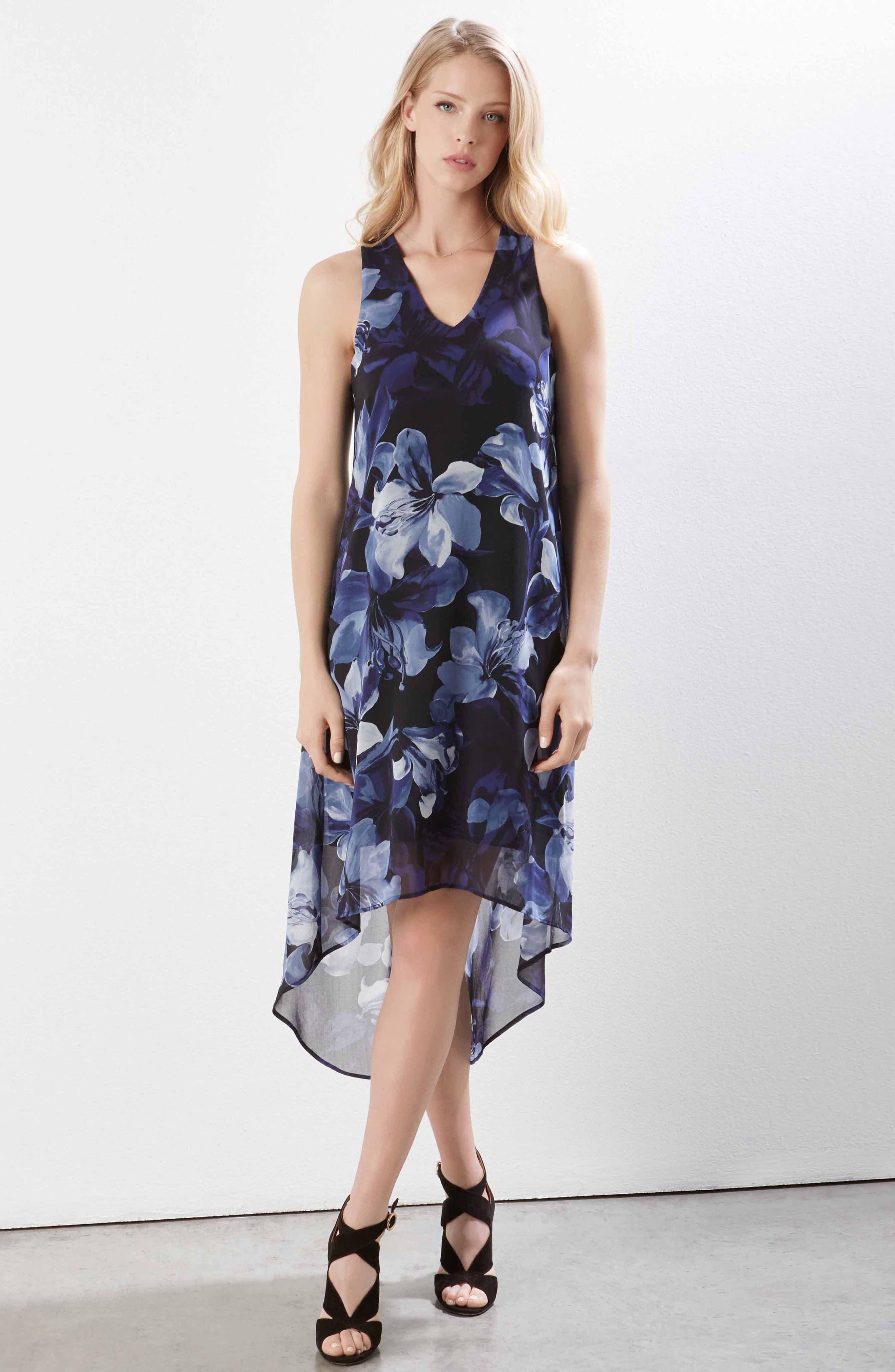 Floral Print High/Low Dress,                             Alternate thumbnail 4, color,