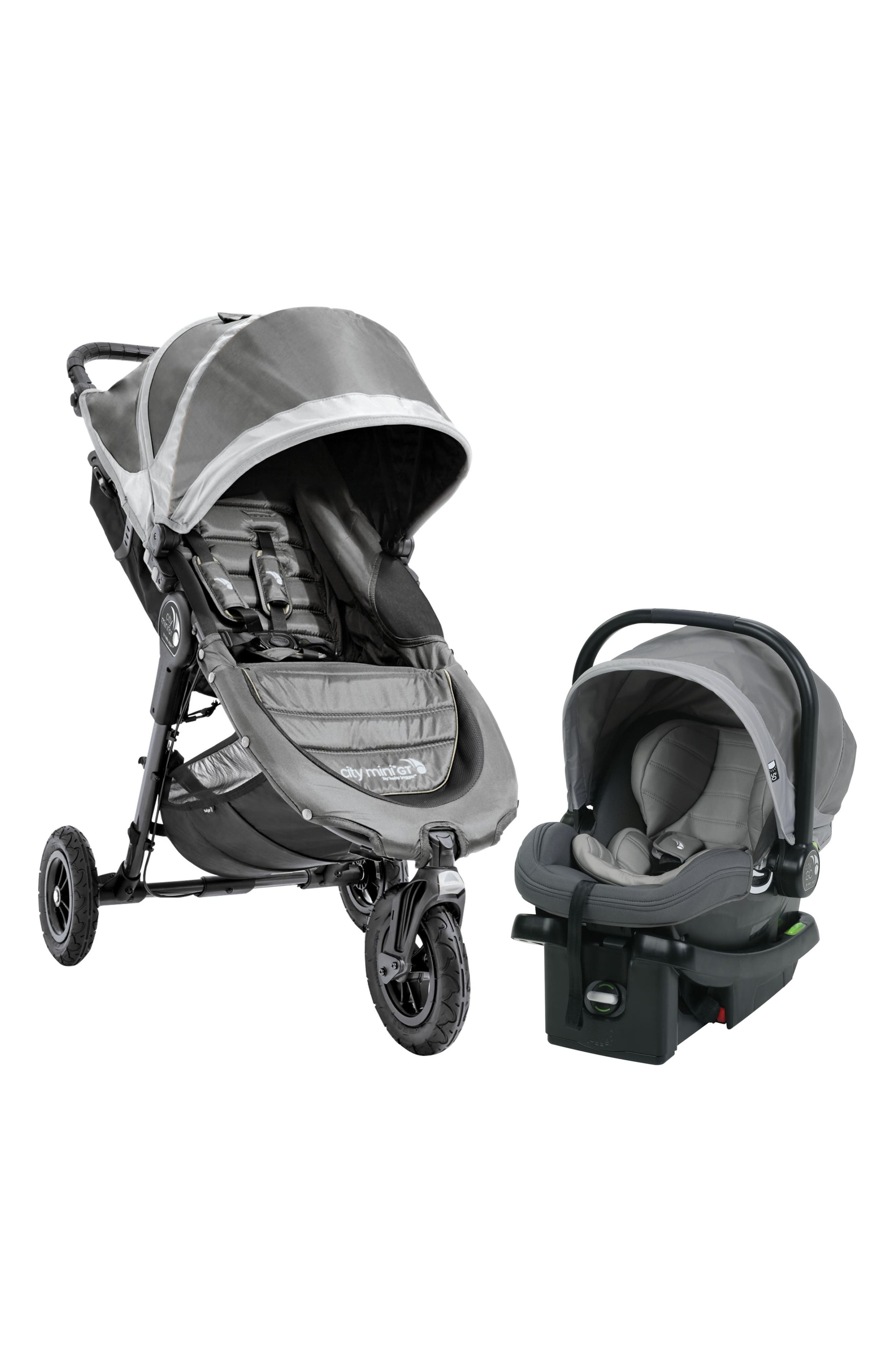 City Mini Single Stroller & City Go Infant Car Seat Travel System,                             Main thumbnail 1, color,                             STEEL GREY