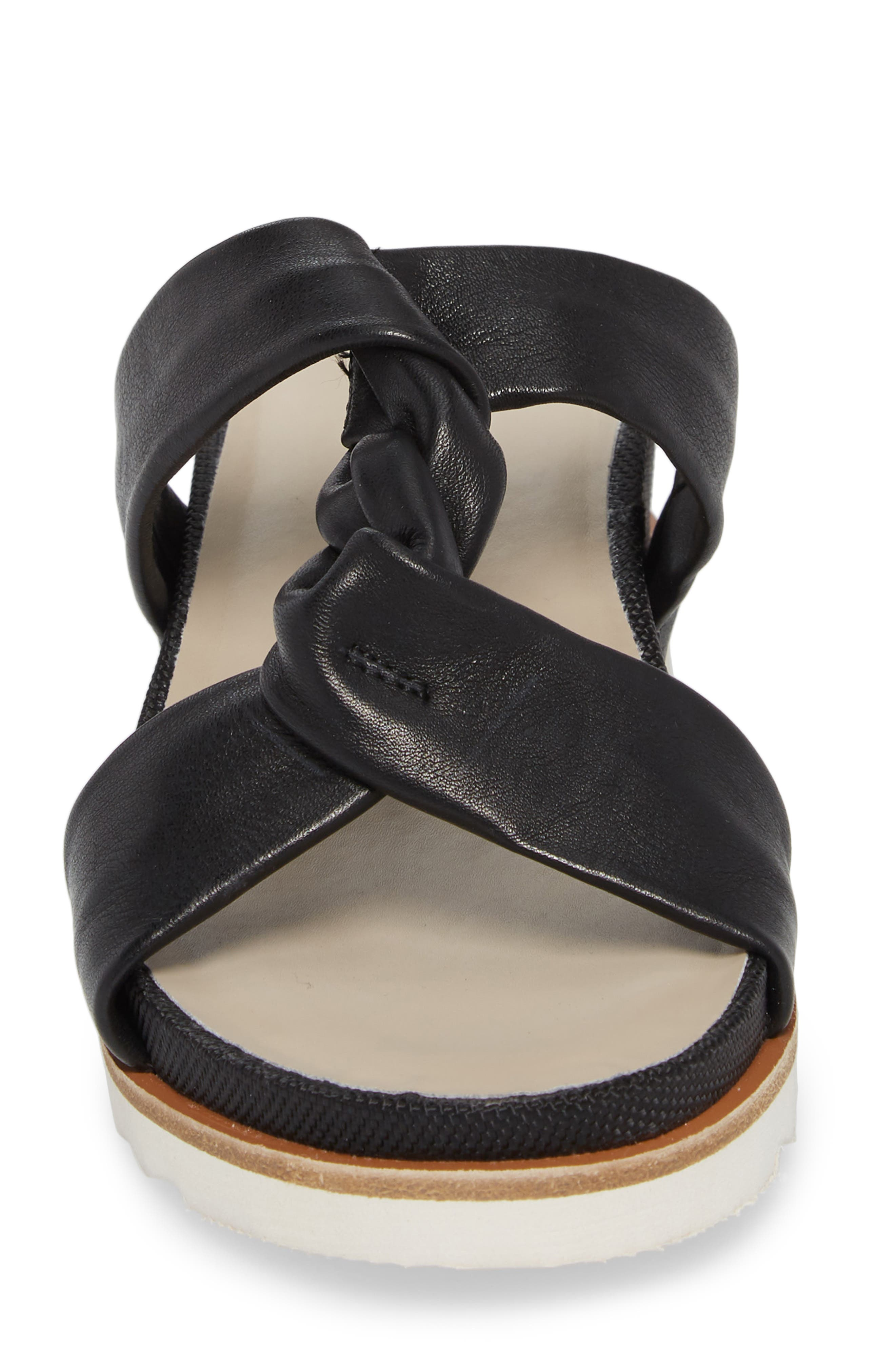 Ginger Slide Sandal,                             Alternate thumbnail 4, color,                             BLACK LEATHER