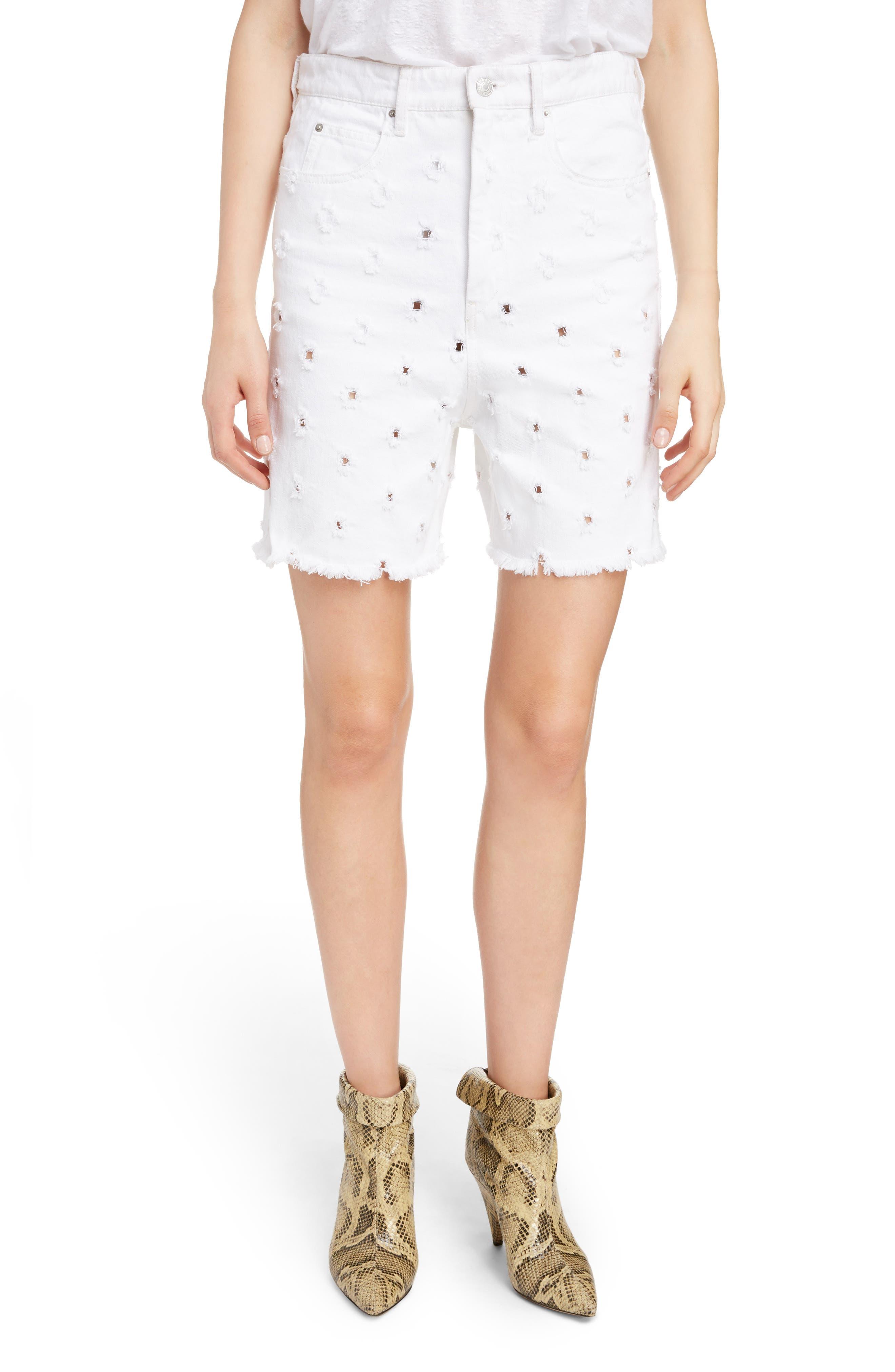 Liny Shredded Dot Denim Shorts, Main, color, WHITE