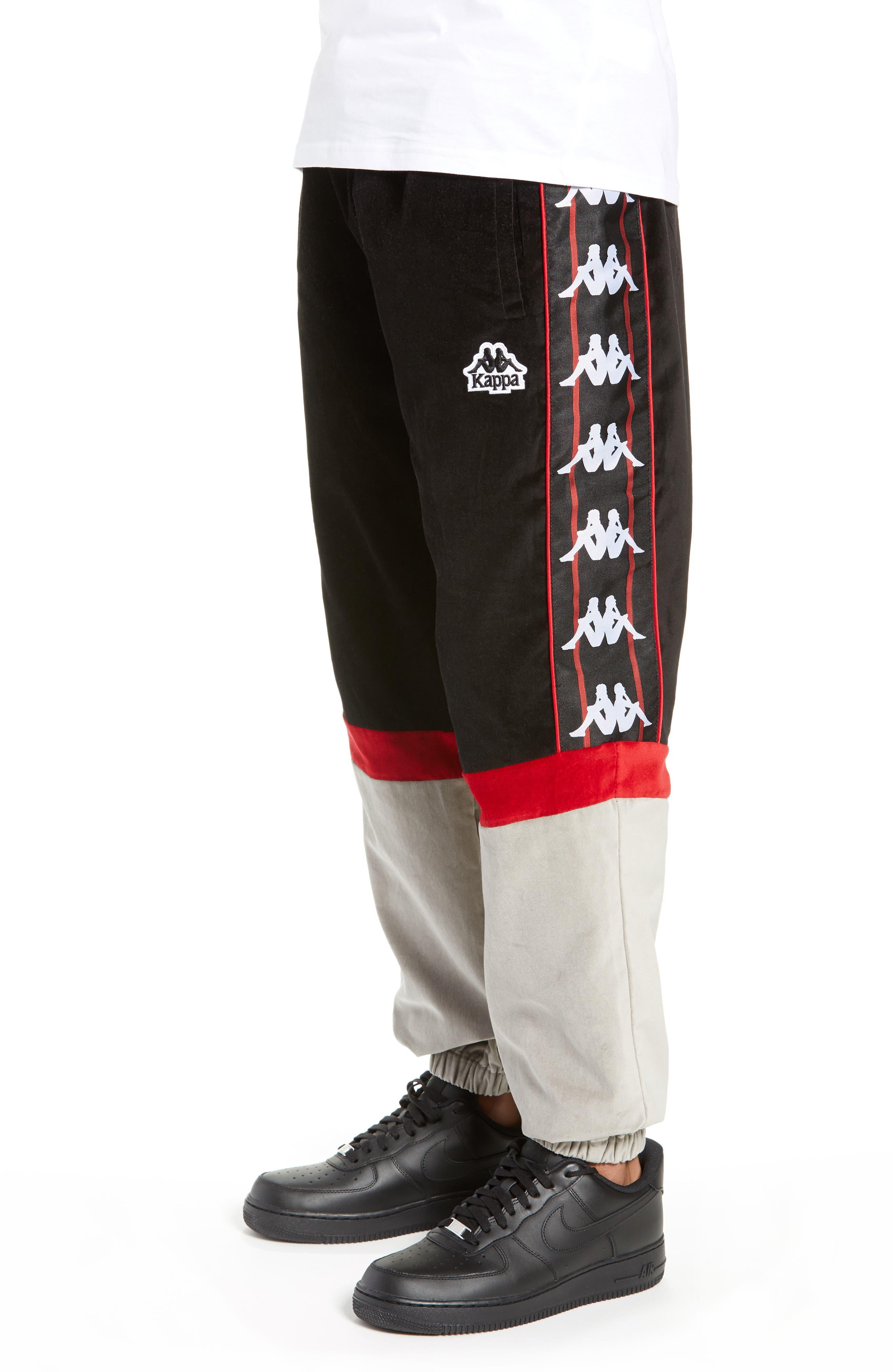Authentic Serena Cotton Velour Track Pants,                             Alternate thumbnail 3, color,                             BLACK/ RED/ GREY
