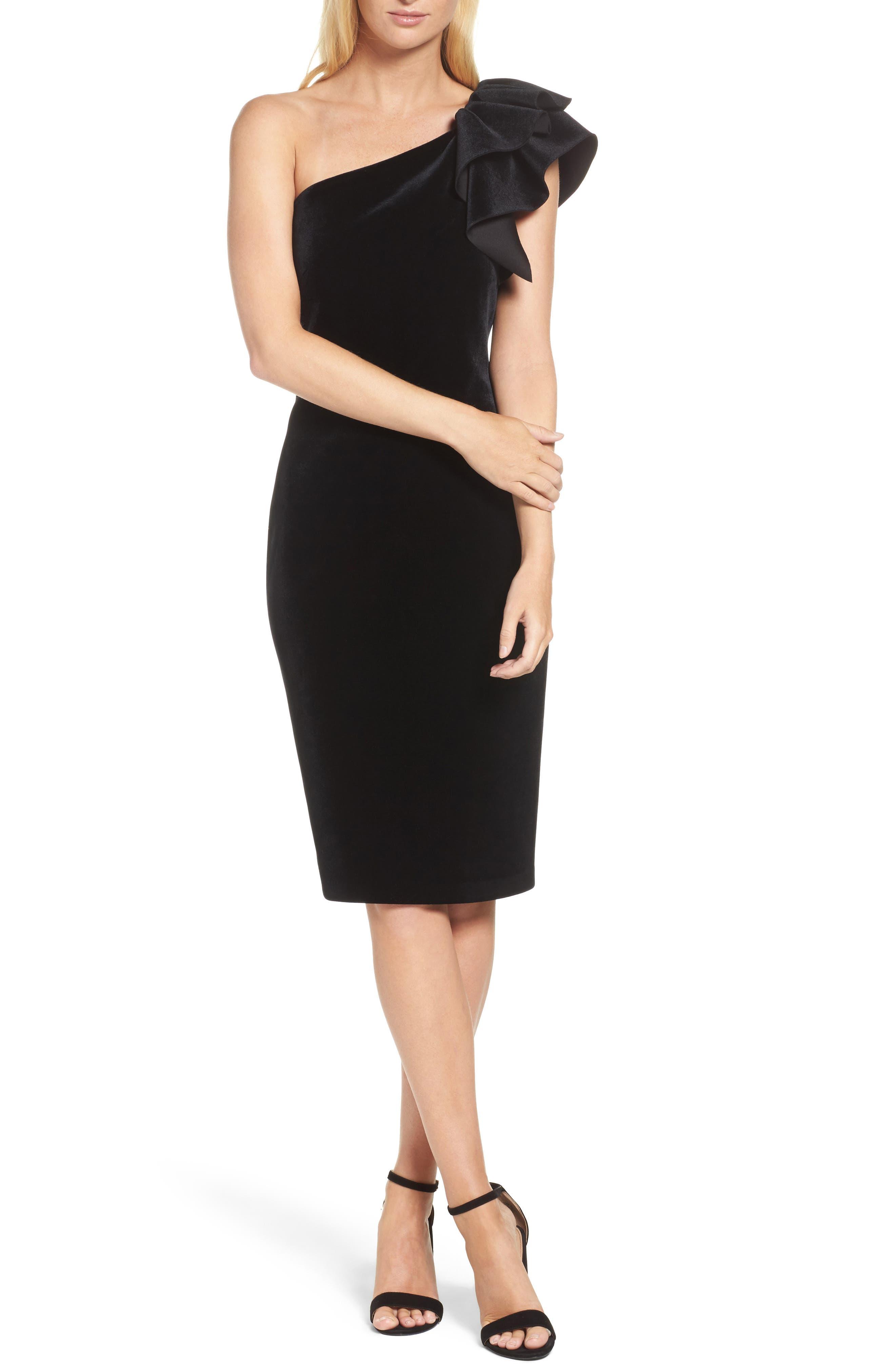 Eliza J One-Shoulder Velvet Sheath Cocktail Dress, Black