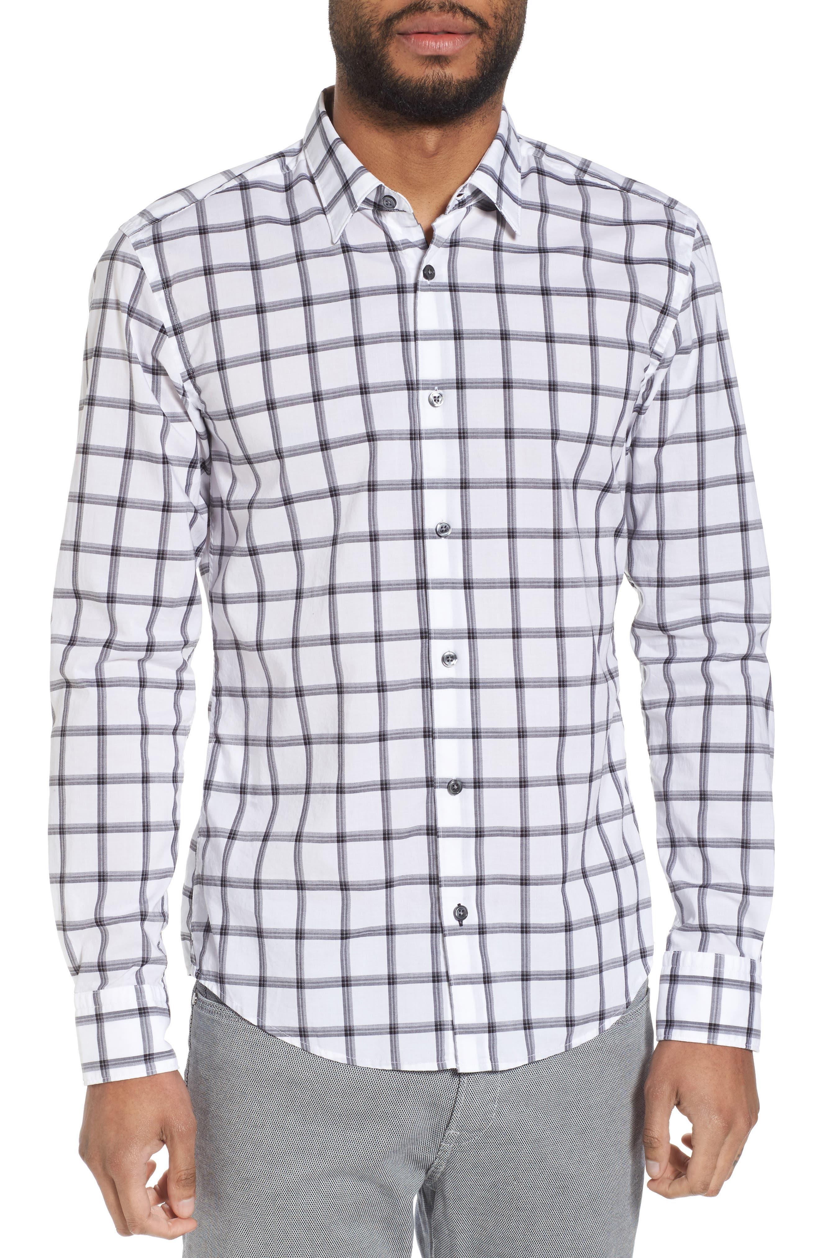 Reid Slim Fit Windowpane Sport Shirt,                         Main,                         color, 001
