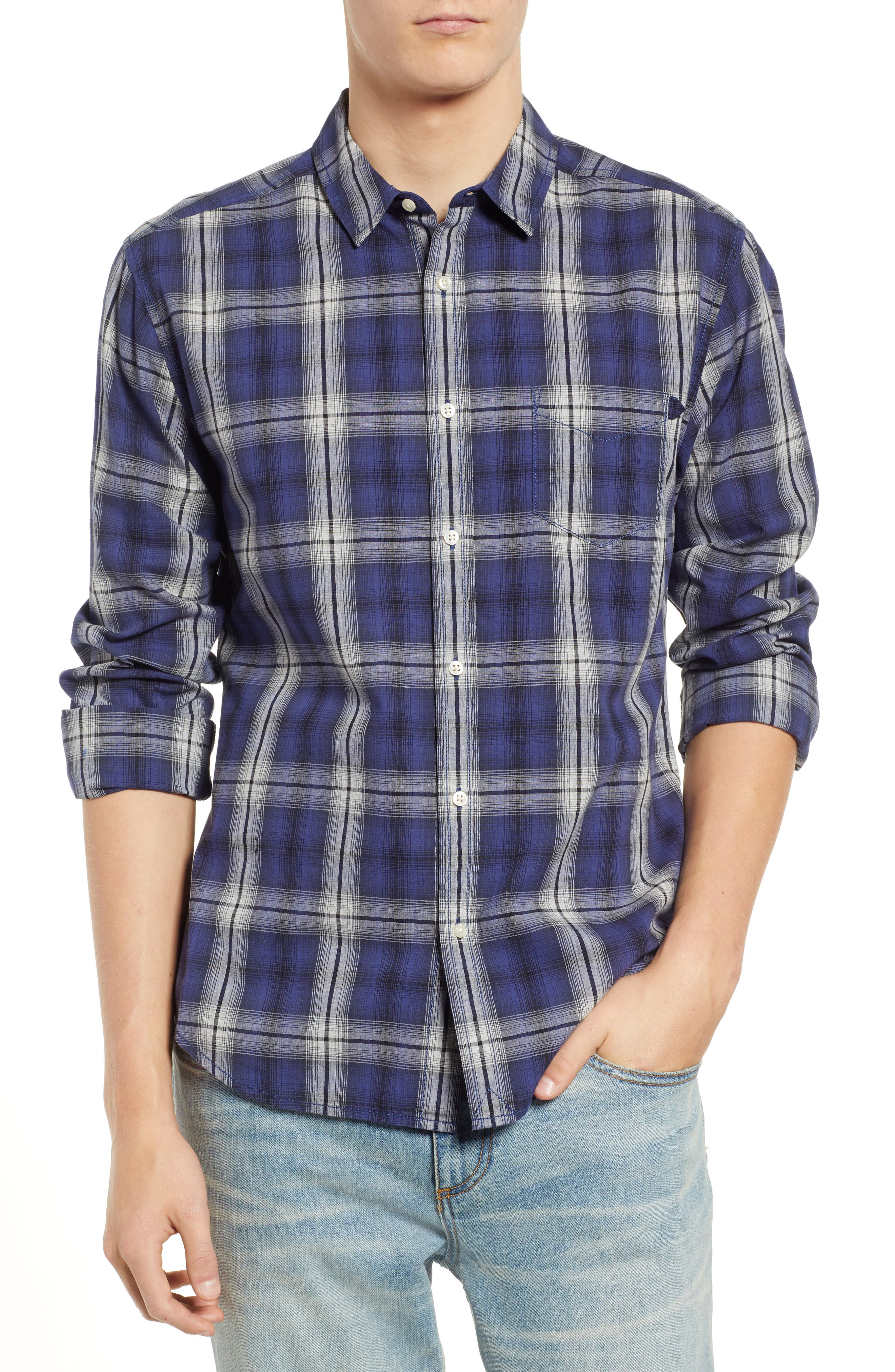 Fairmont Regular Fit Windowpane Sport Shirt,                             Main thumbnail 1, color,                             BLUE JAY