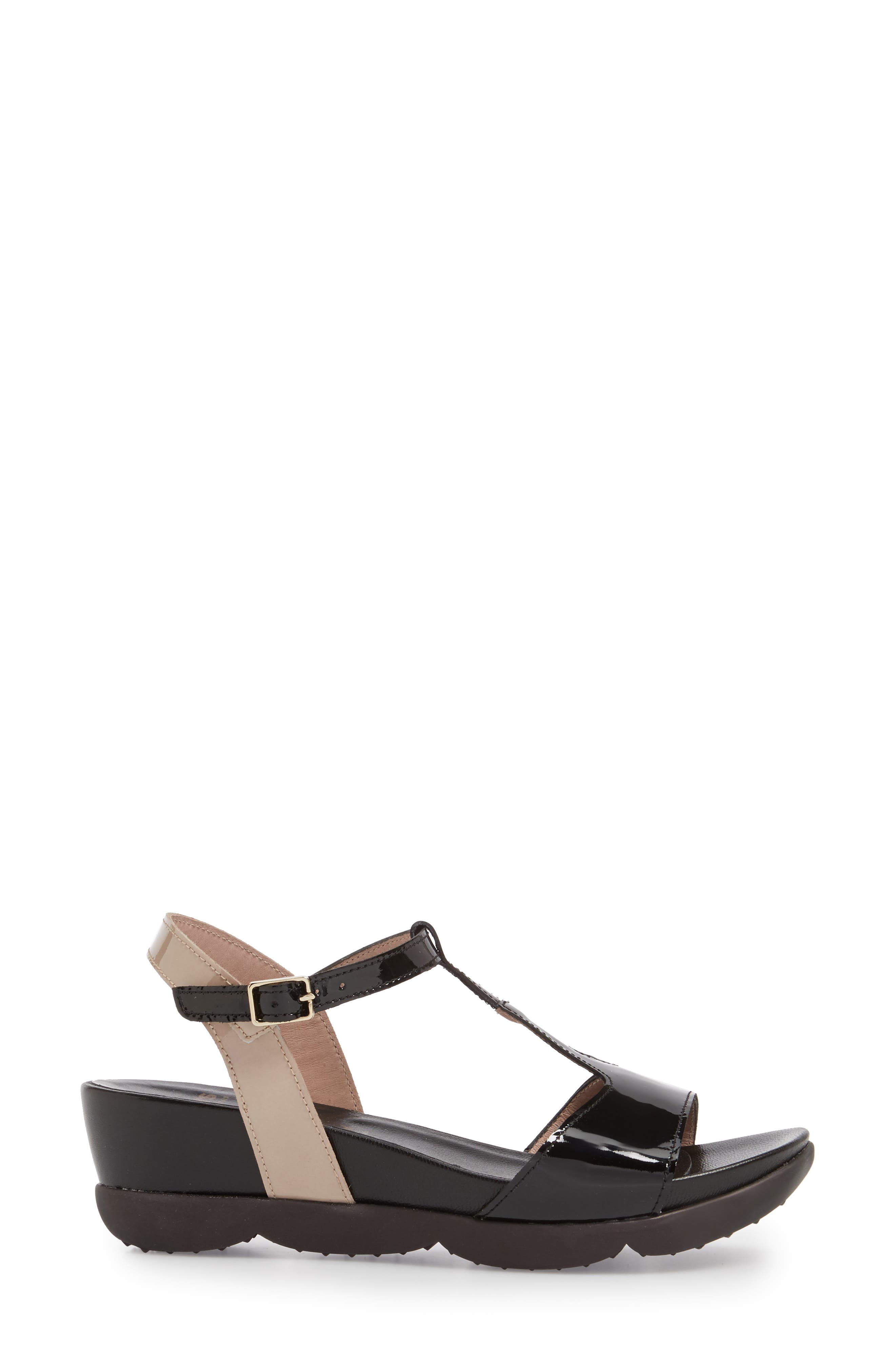 Wedge Sandal,                             Alternate thumbnail 3, color,                             BLACK/ TAUPE LEATHER