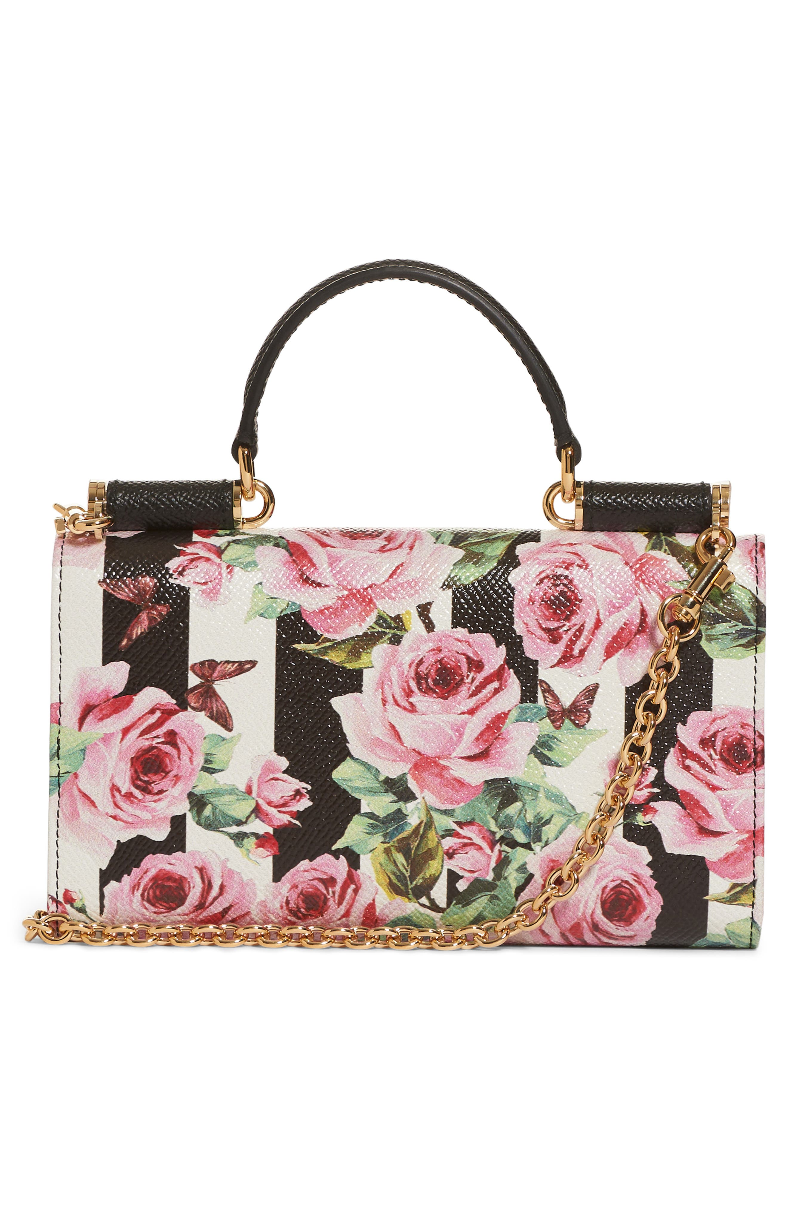 Mini Stripe Floral Calfskin Leather Bag,                             Alternate thumbnail 2, color,                             650