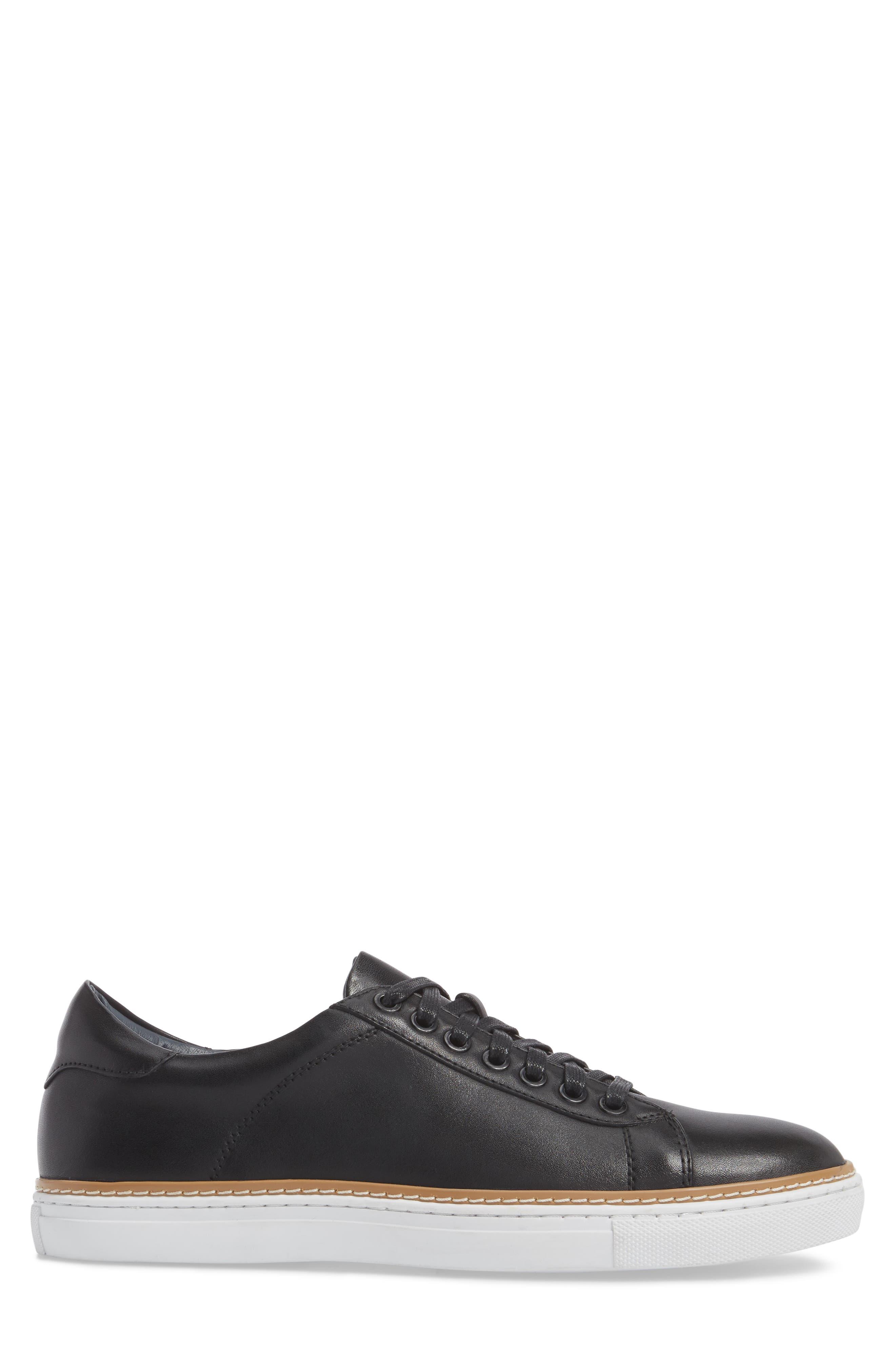 Juniper Low Top Sneaker,                             Alternate thumbnail 3, color,                             BLACK LEATHER