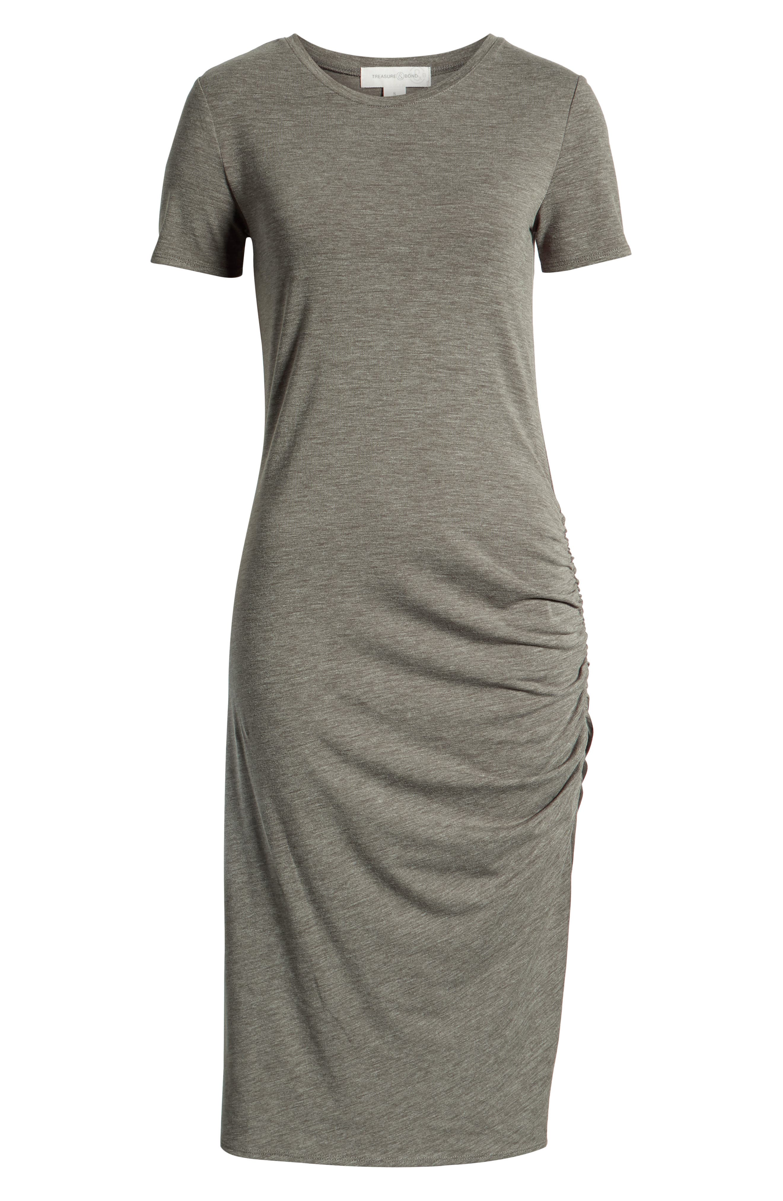 TREASURE & BOND, Side Ruched Body-Con Dress, Alternate thumbnail 8, color, OLIVE SARMA HEATHER