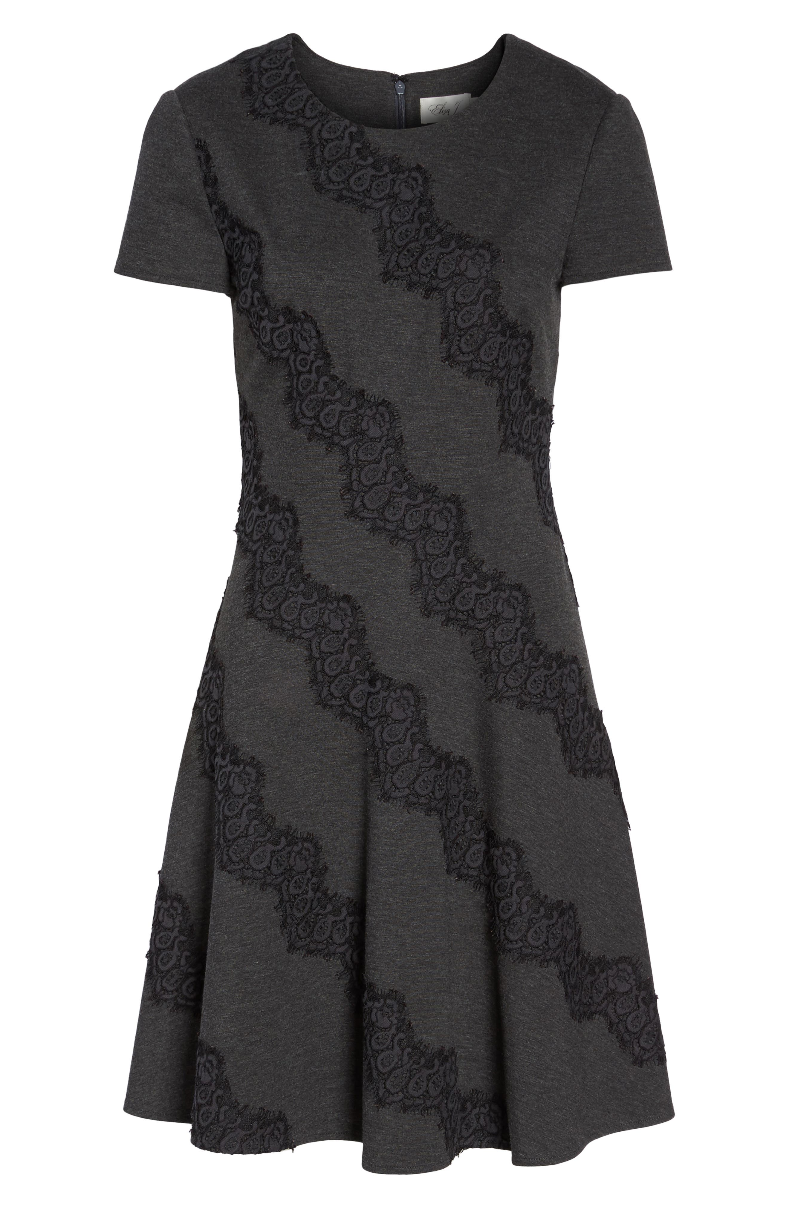 Placed Lace Fit & Flare Dress,                             Alternate thumbnail 6, color,                             030
