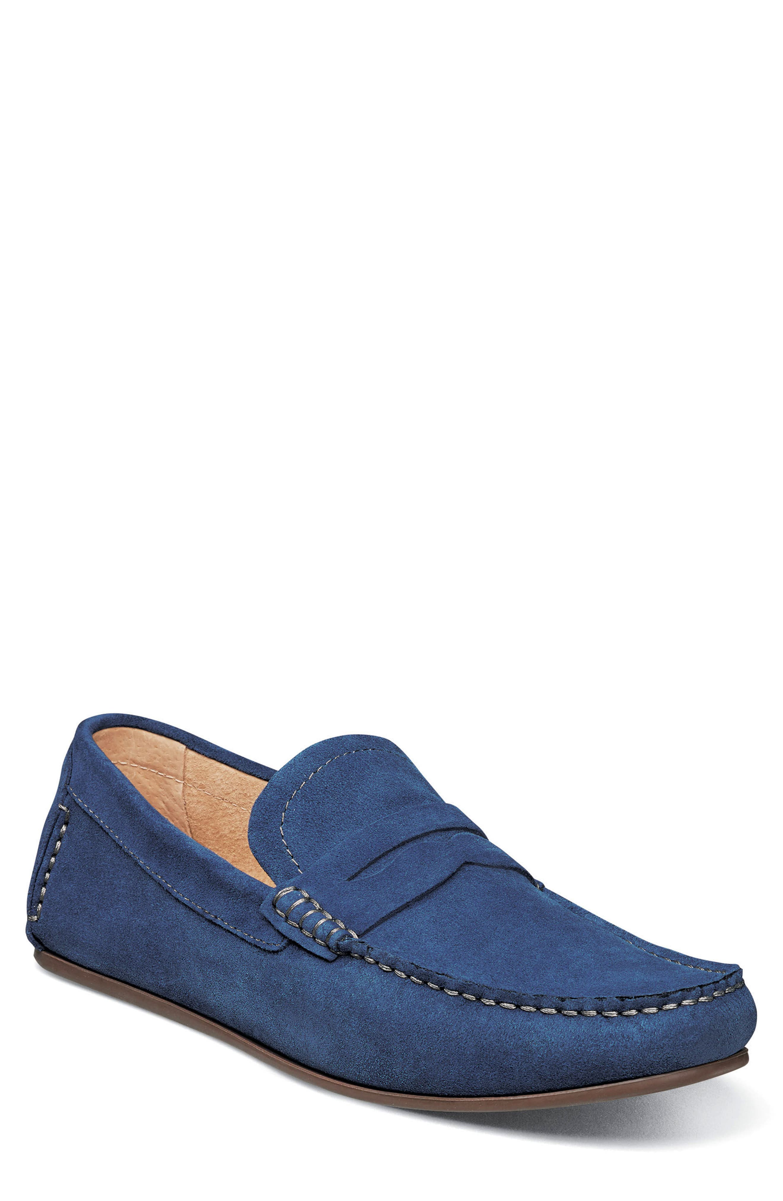 Denison Driving Loafer,                             Main thumbnail 1, color,                             BLUE SUEDE