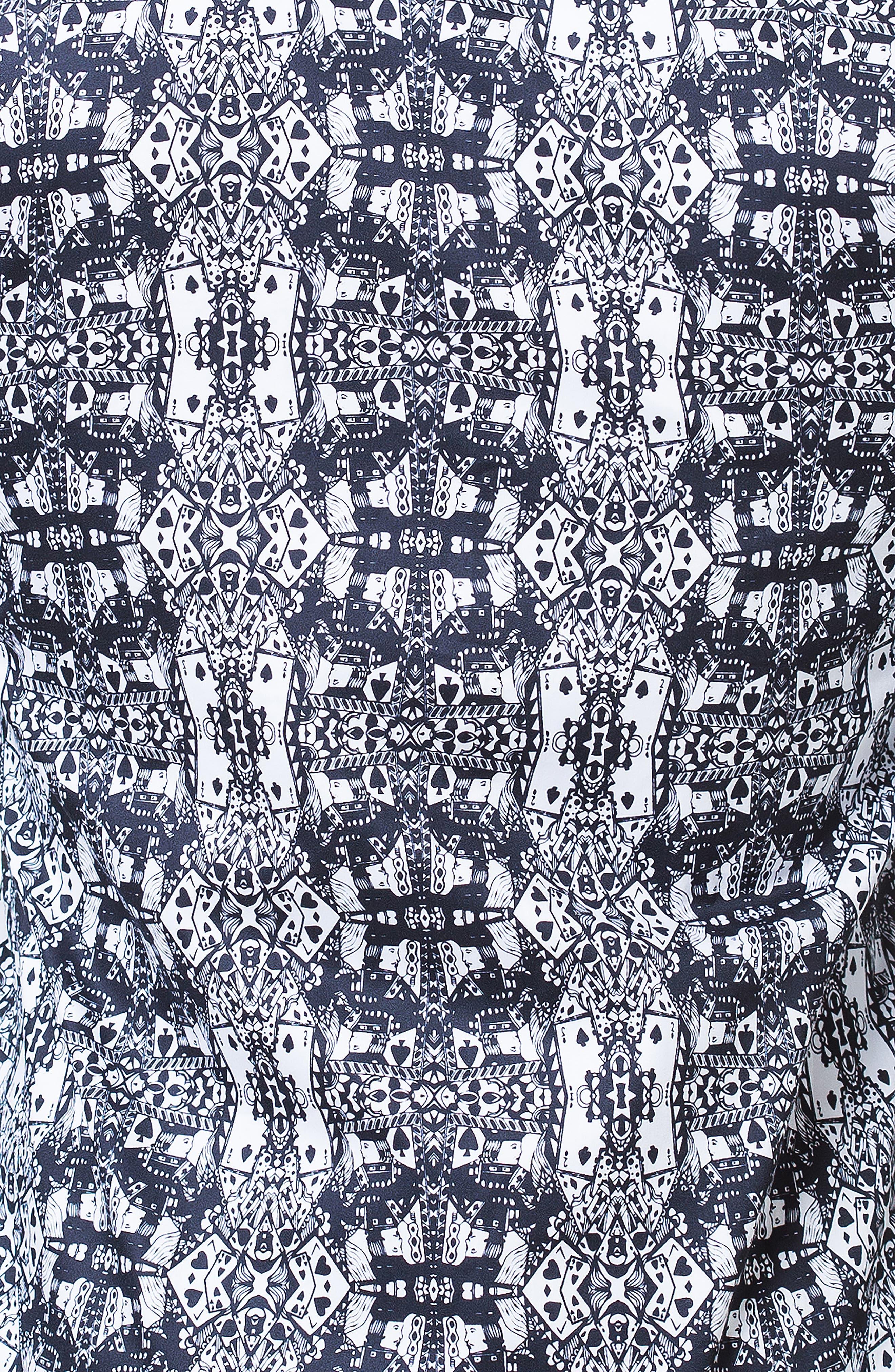 Fibonacci 3D Cards Trim Fit Print Sport Shirt,                             Alternate thumbnail 3, color,                             BLACK