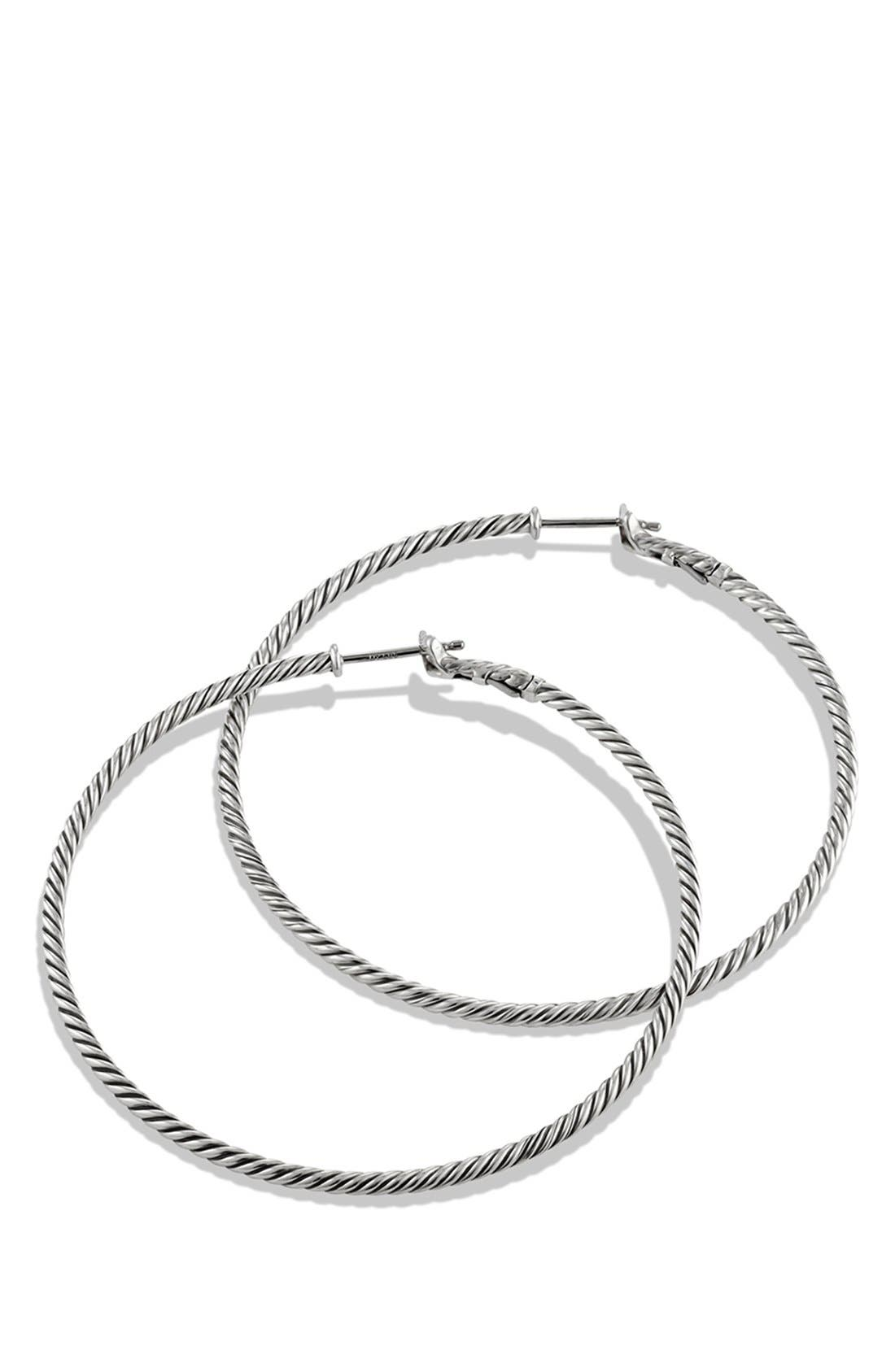 'Cable Classics' Hoop Earrings,                             Alternate thumbnail 3, color,                             SILVER