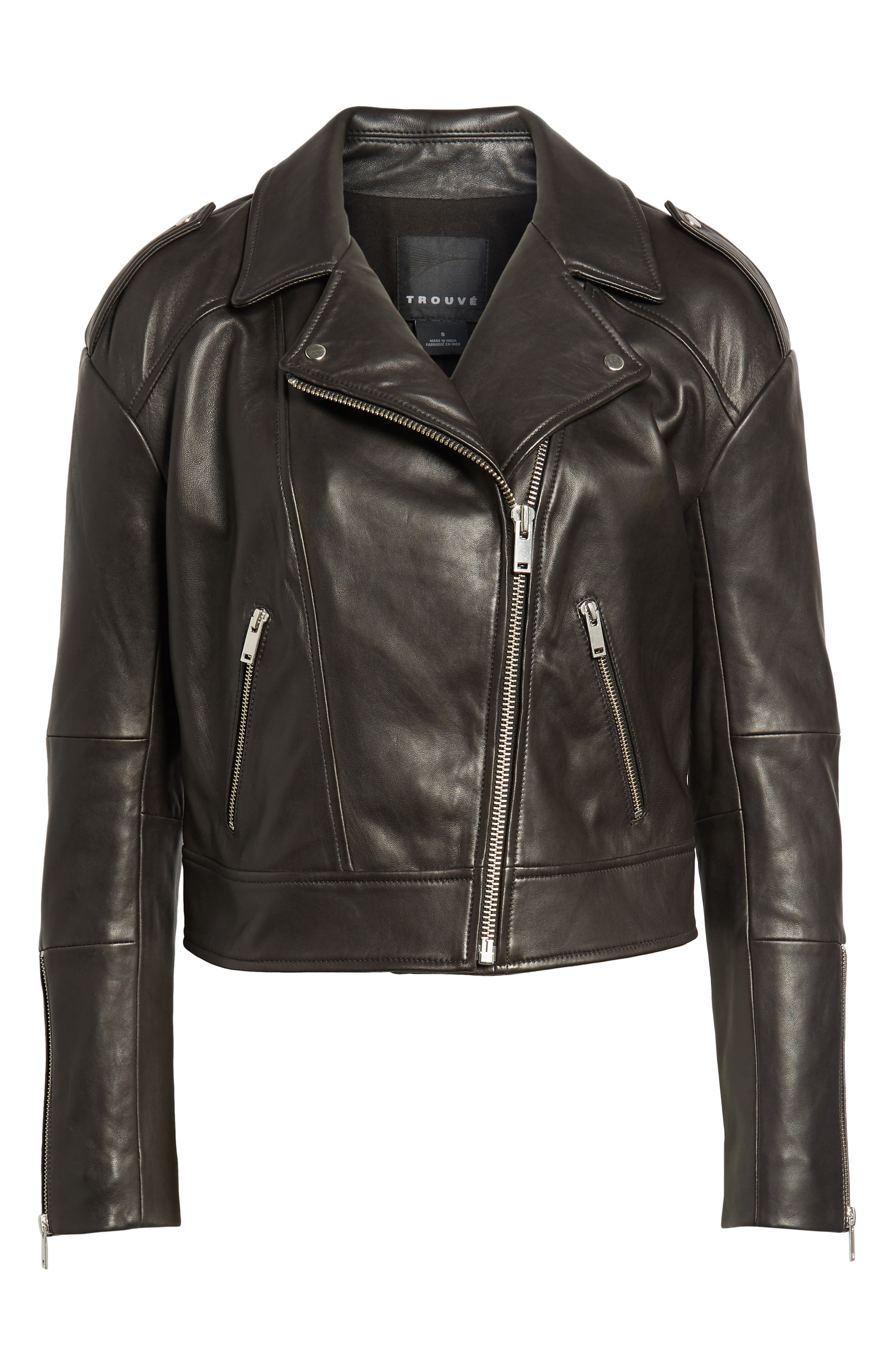 Crop Leather Biker Jacket,                             Alternate thumbnail 5, color,                             001