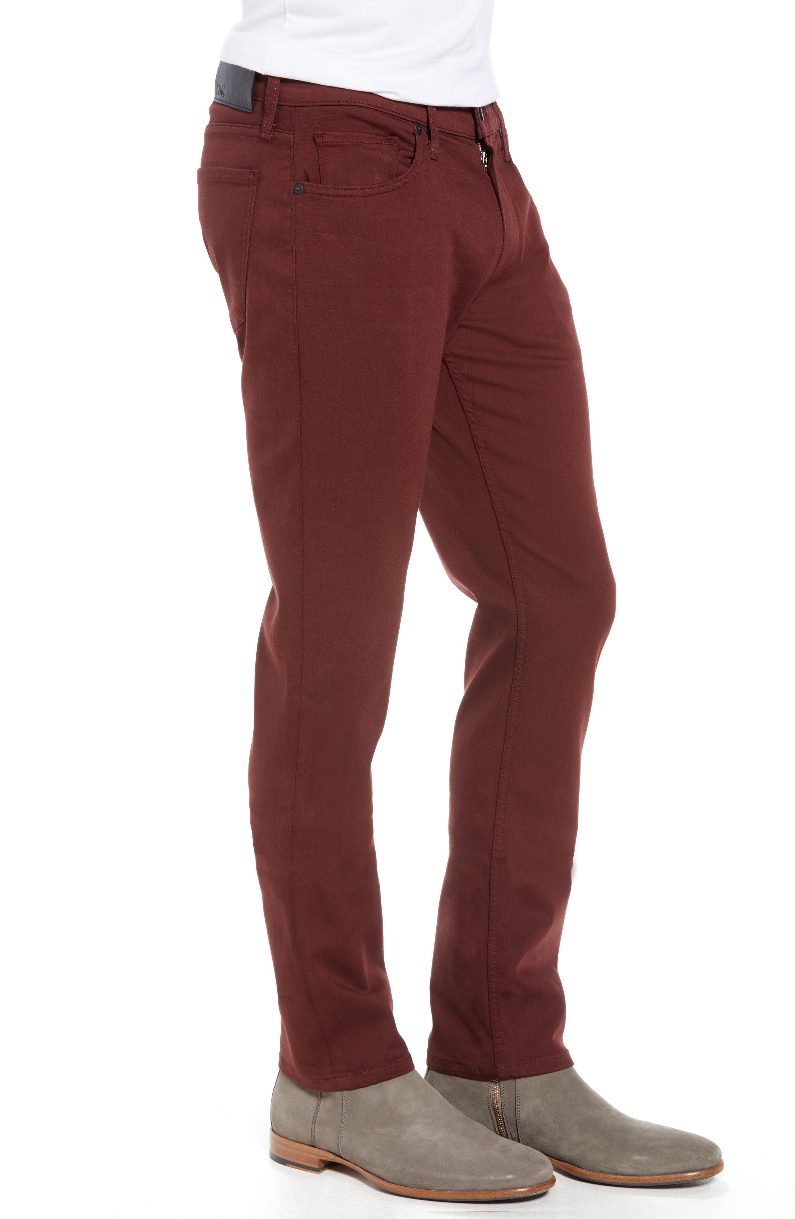 Transcend - Federal Slim Straight Leg Jeans,                             Alternate thumbnail 3, color,                             RUSTIC WINE
