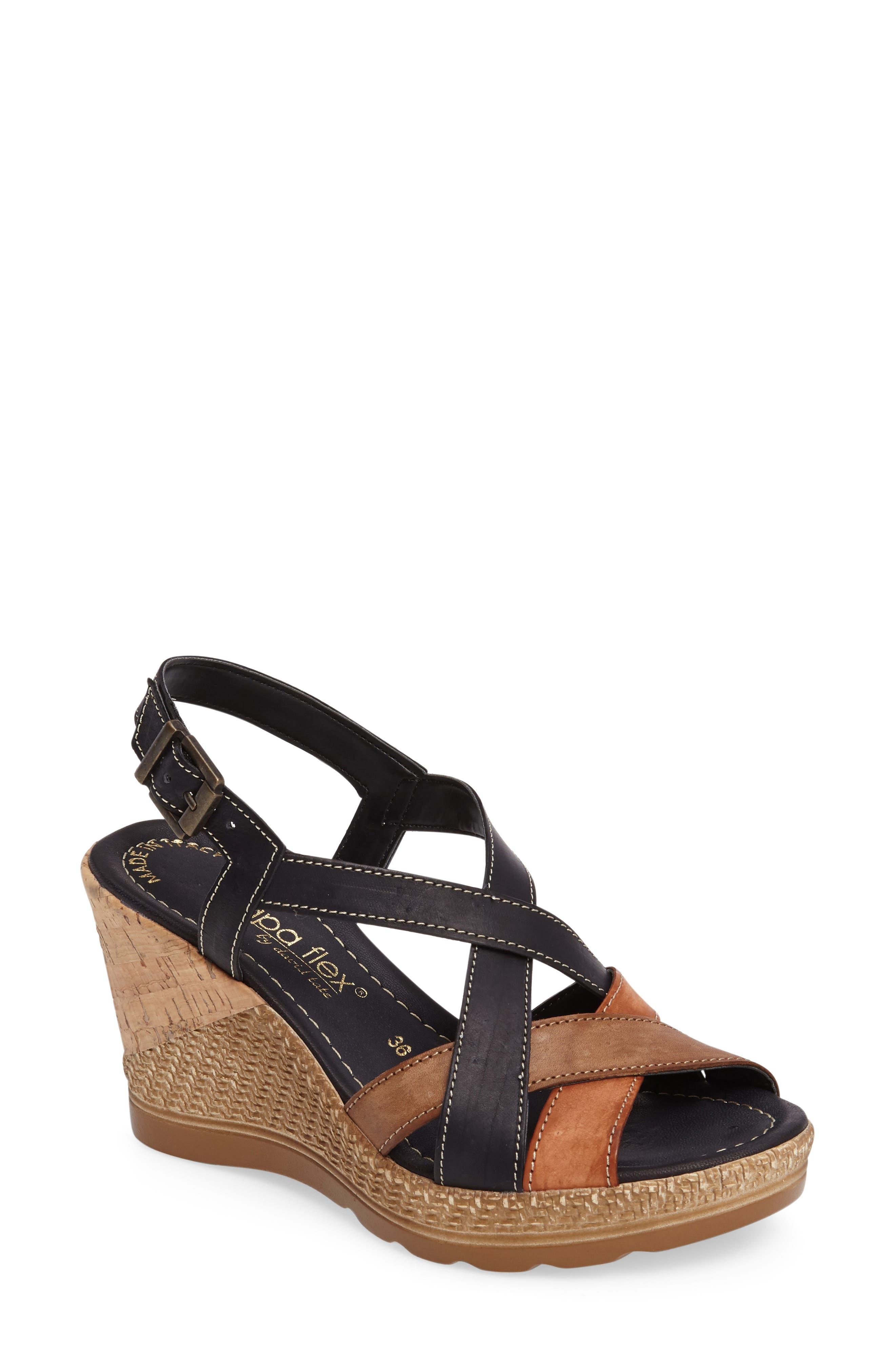 Modena Wedge Sandal,                             Main thumbnail 1, color,                             001