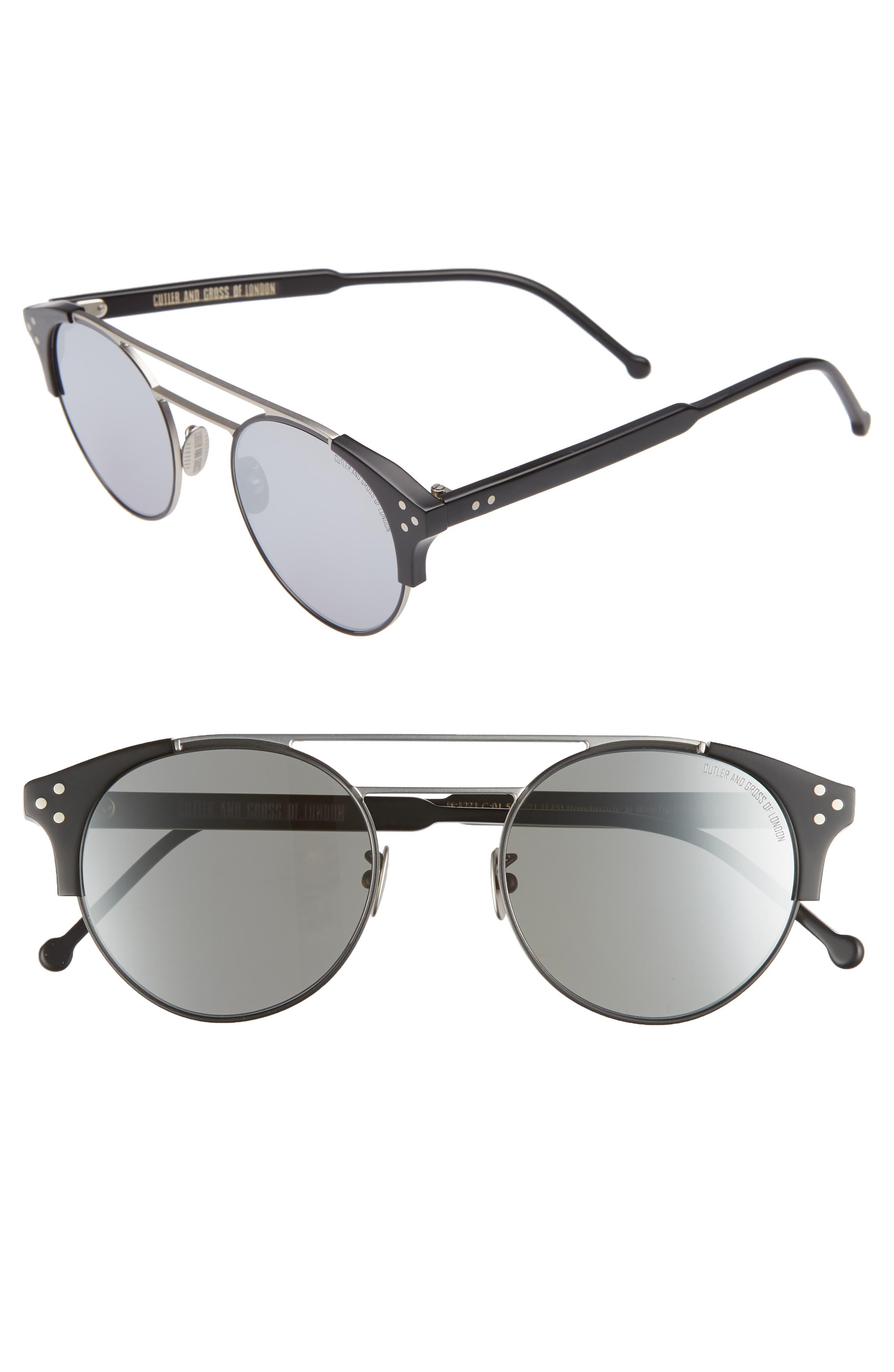 50mm Polarized Round Sunglasses,                             Main thumbnail 1, color,                             PALLADIUM AND BLACK/ SILVER