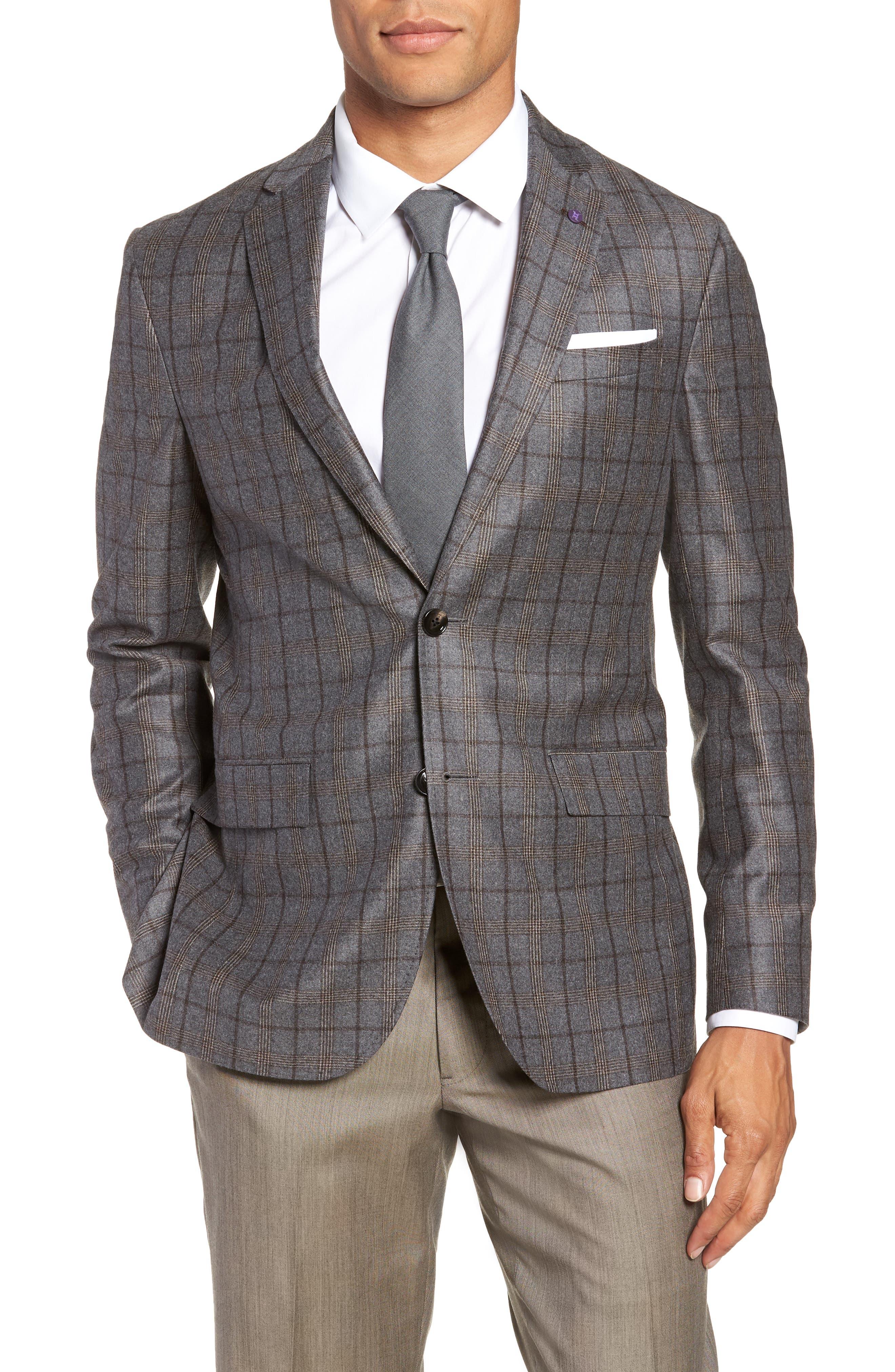 Konan 2B Trim Fit Wool Sport Coat,                         Main,                         color, LIGHT GREY