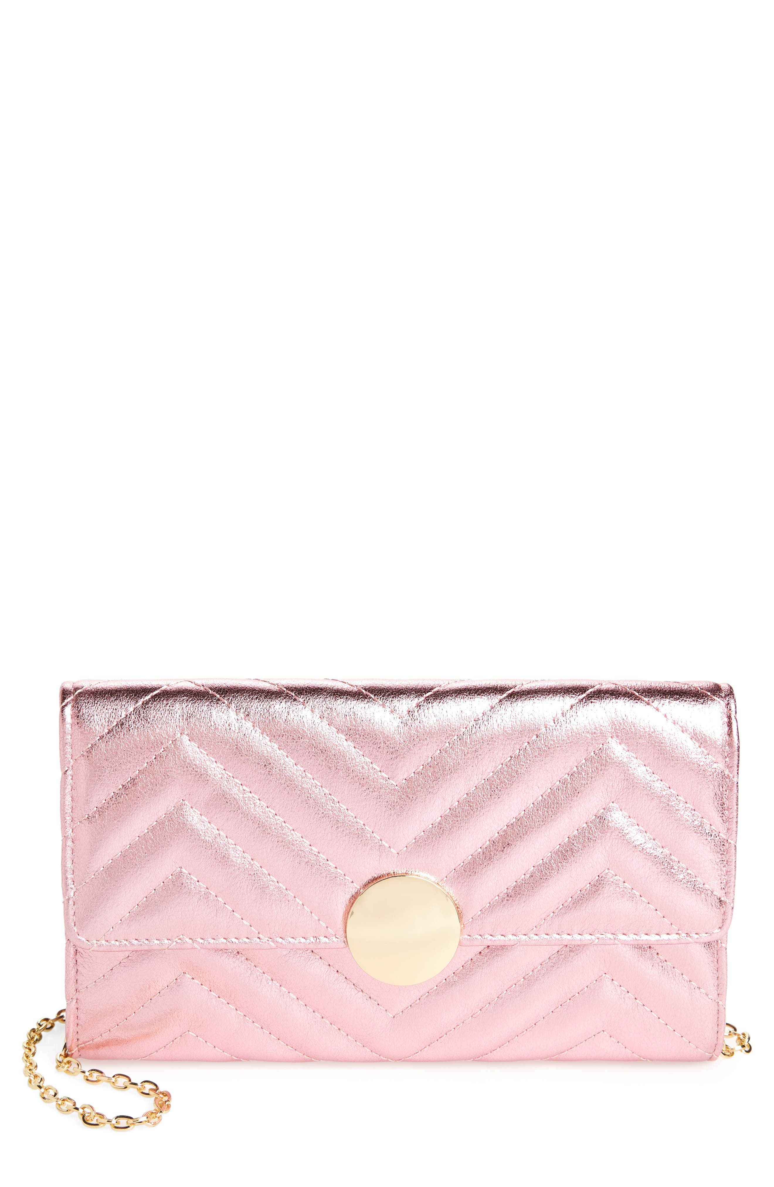 Quilted Faux Leather Wallet on a Chain,                             Main thumbnail 2, color,