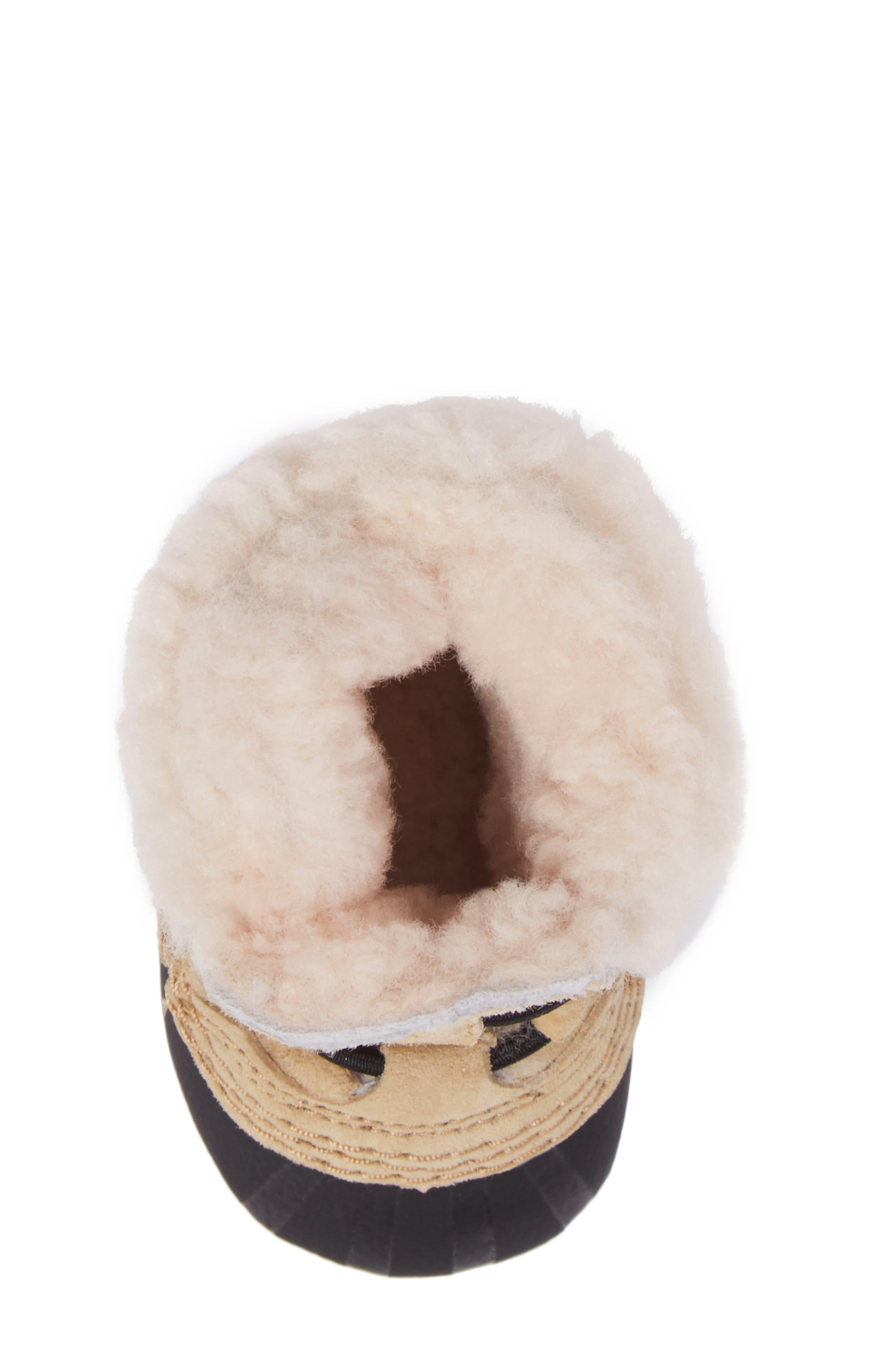 Caribootie Genuine Shearling Crib Shoe,                             Alternate thumbnail 27, color,