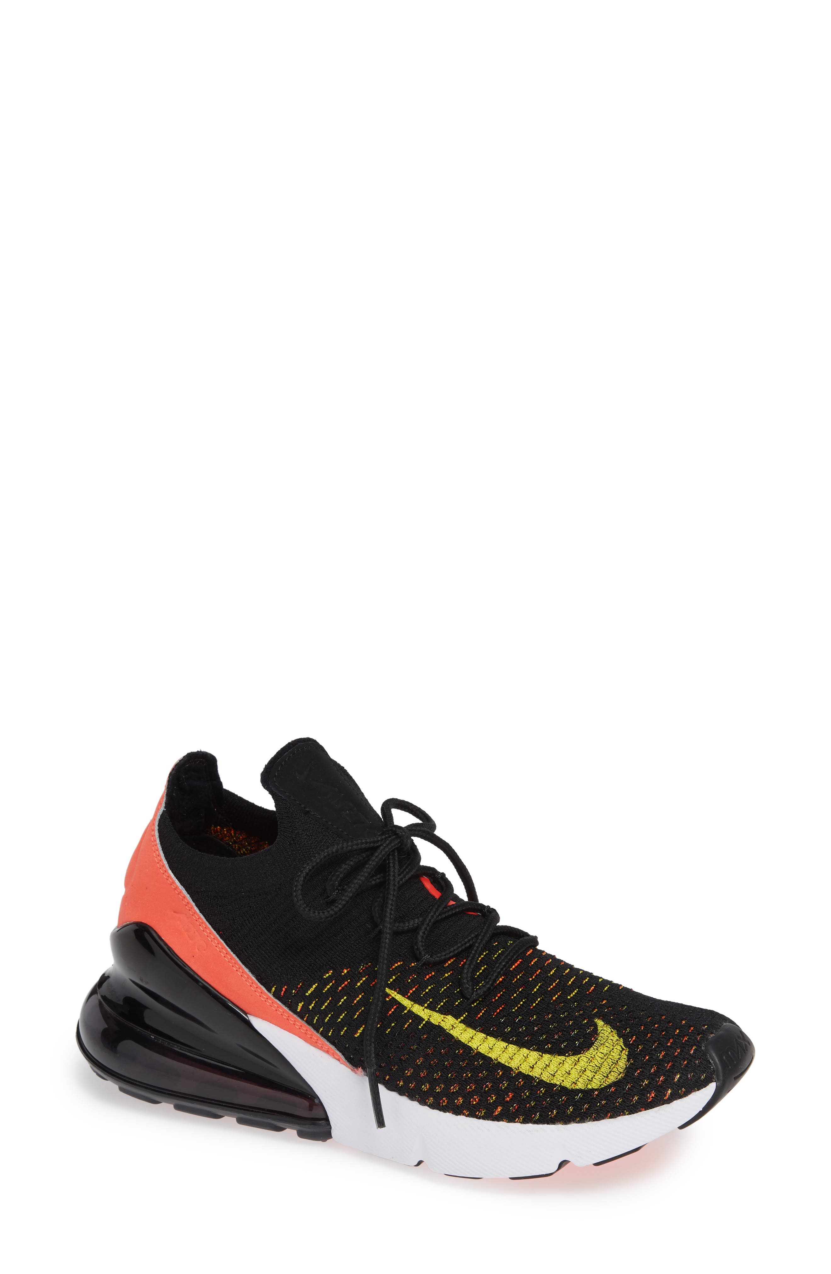 Air Max 270 Flyknit Sneaker,                             Main thumbnail 1, color,                             BLACK/ YELLOW STRIKE/ CRIMSON