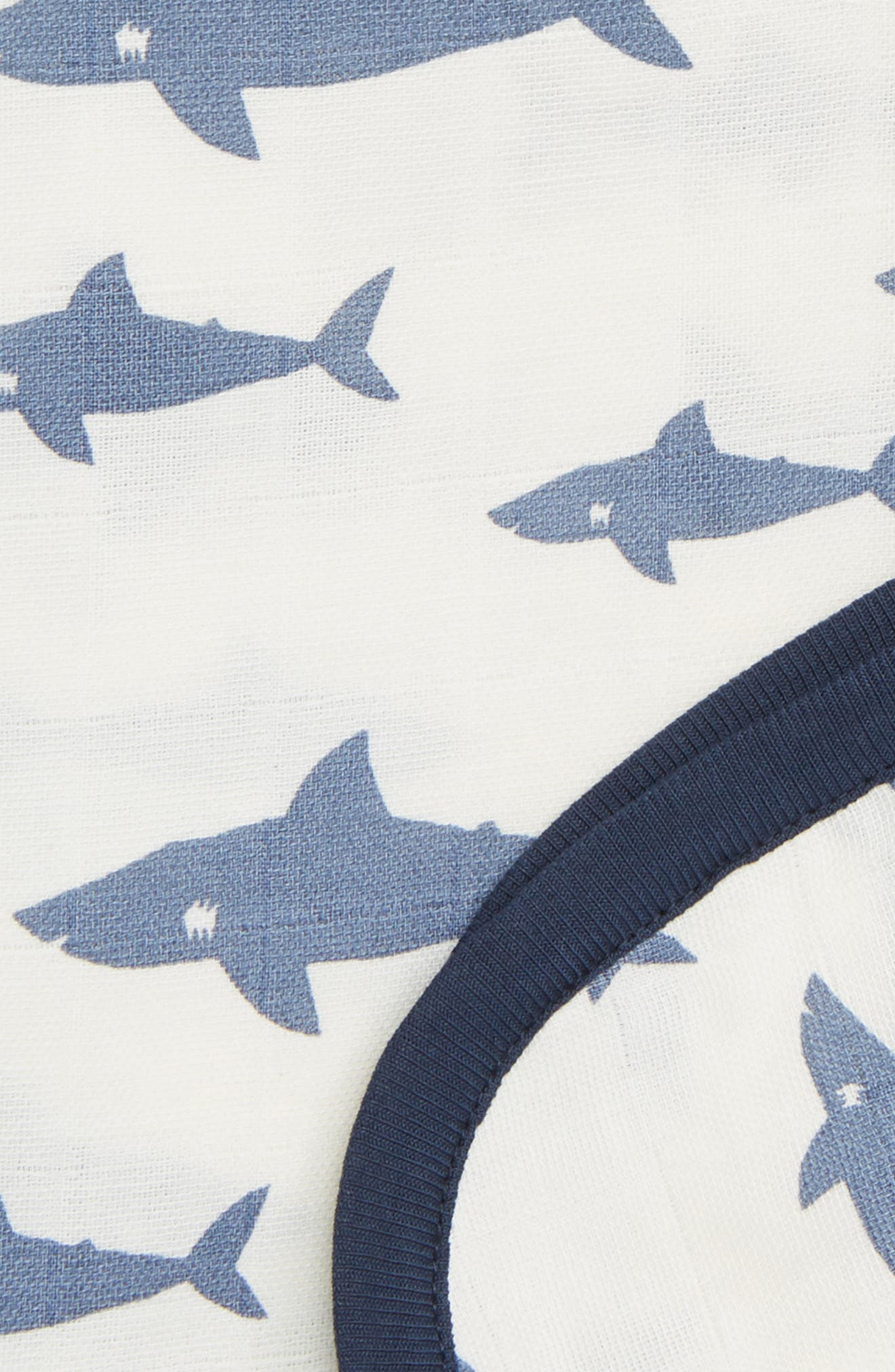 Shark Attack Organic Cotton Always Blanket,                             Alternate thumbnail 2, color,                             SHARK ATTACK