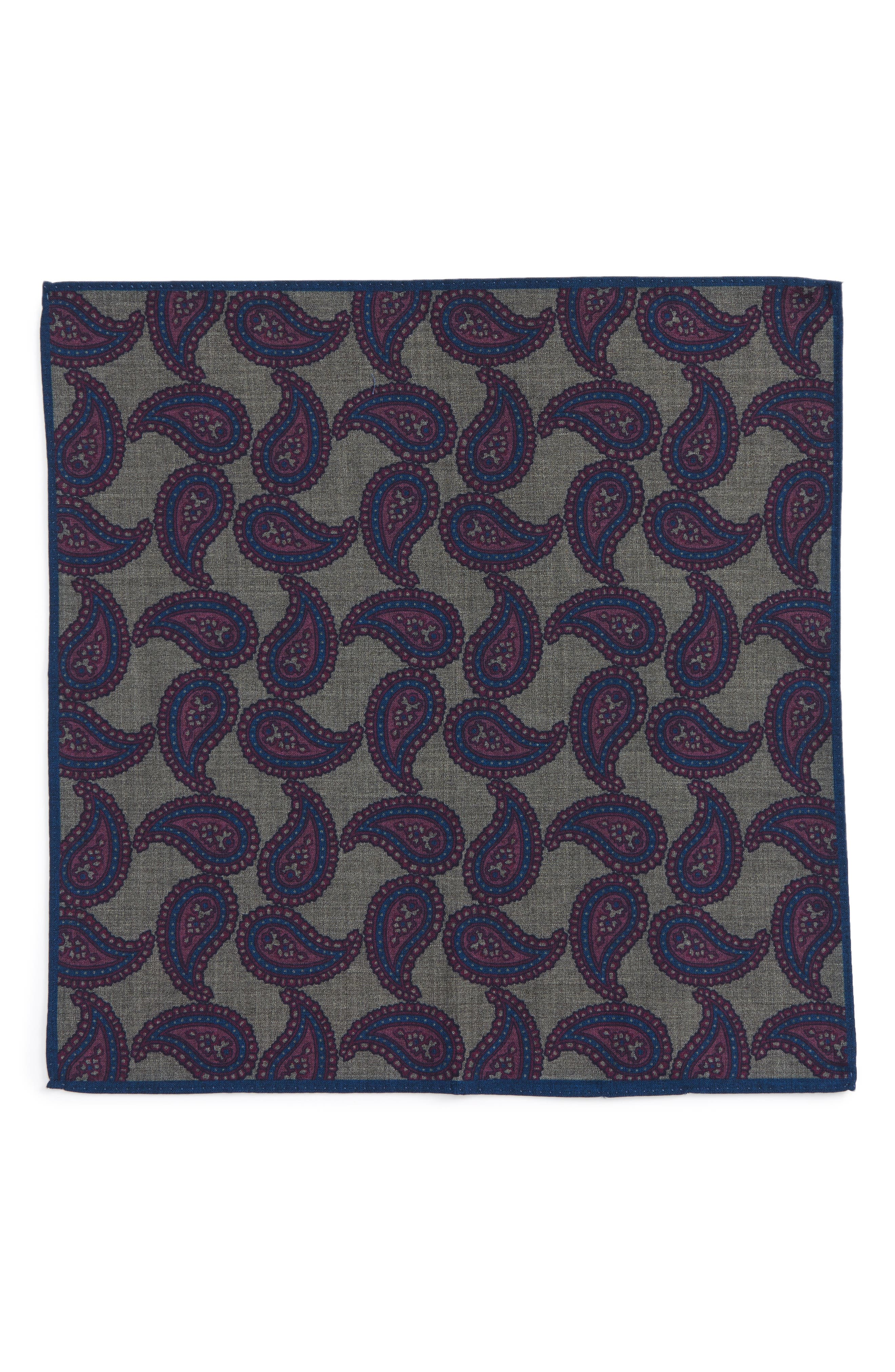 Paisley Wool Pocket Square,                             Alternate thumbnail 6, color,