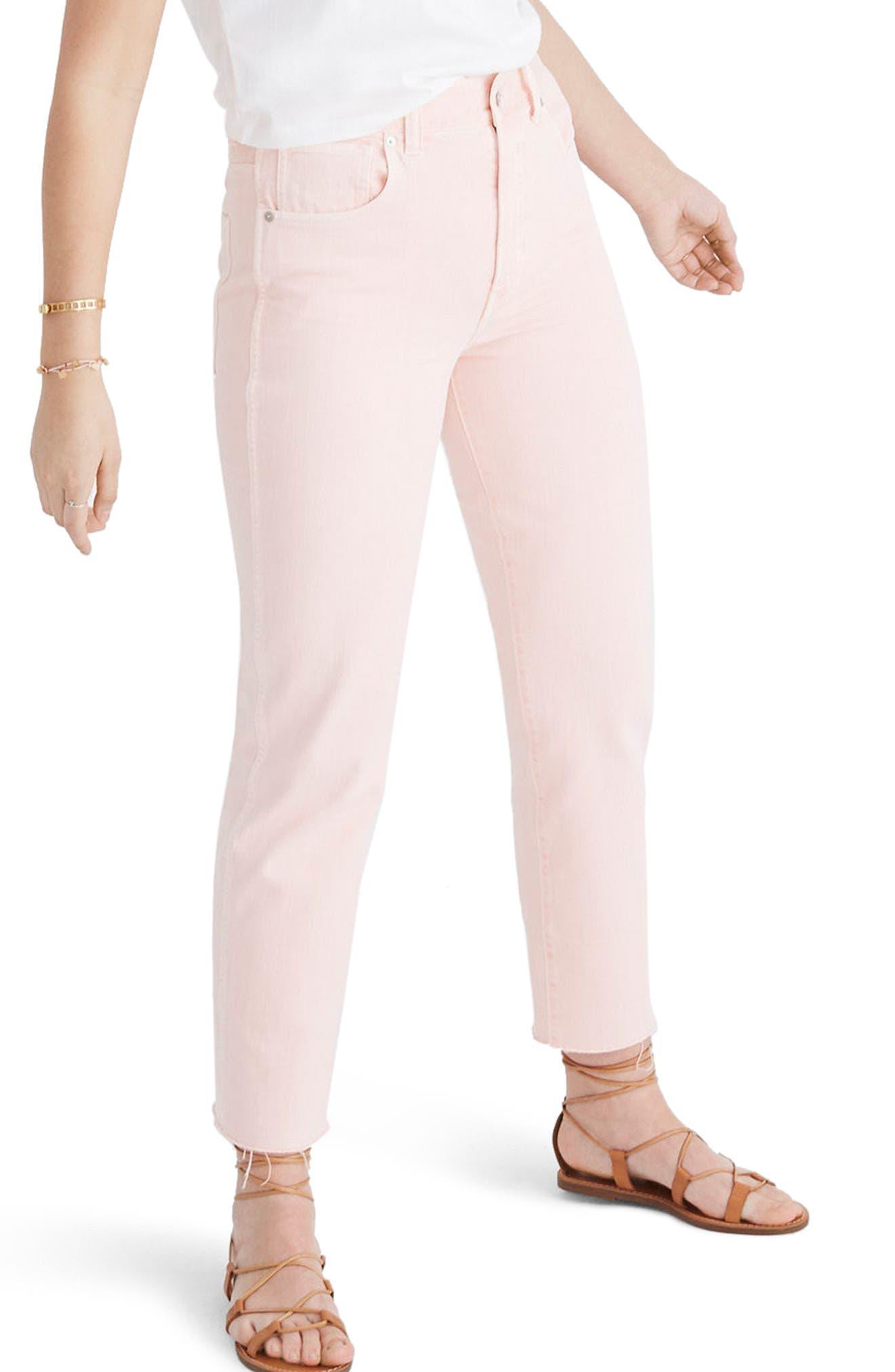 Garment Dyed High Waist Straight Leg Jeans, Main, color, 650