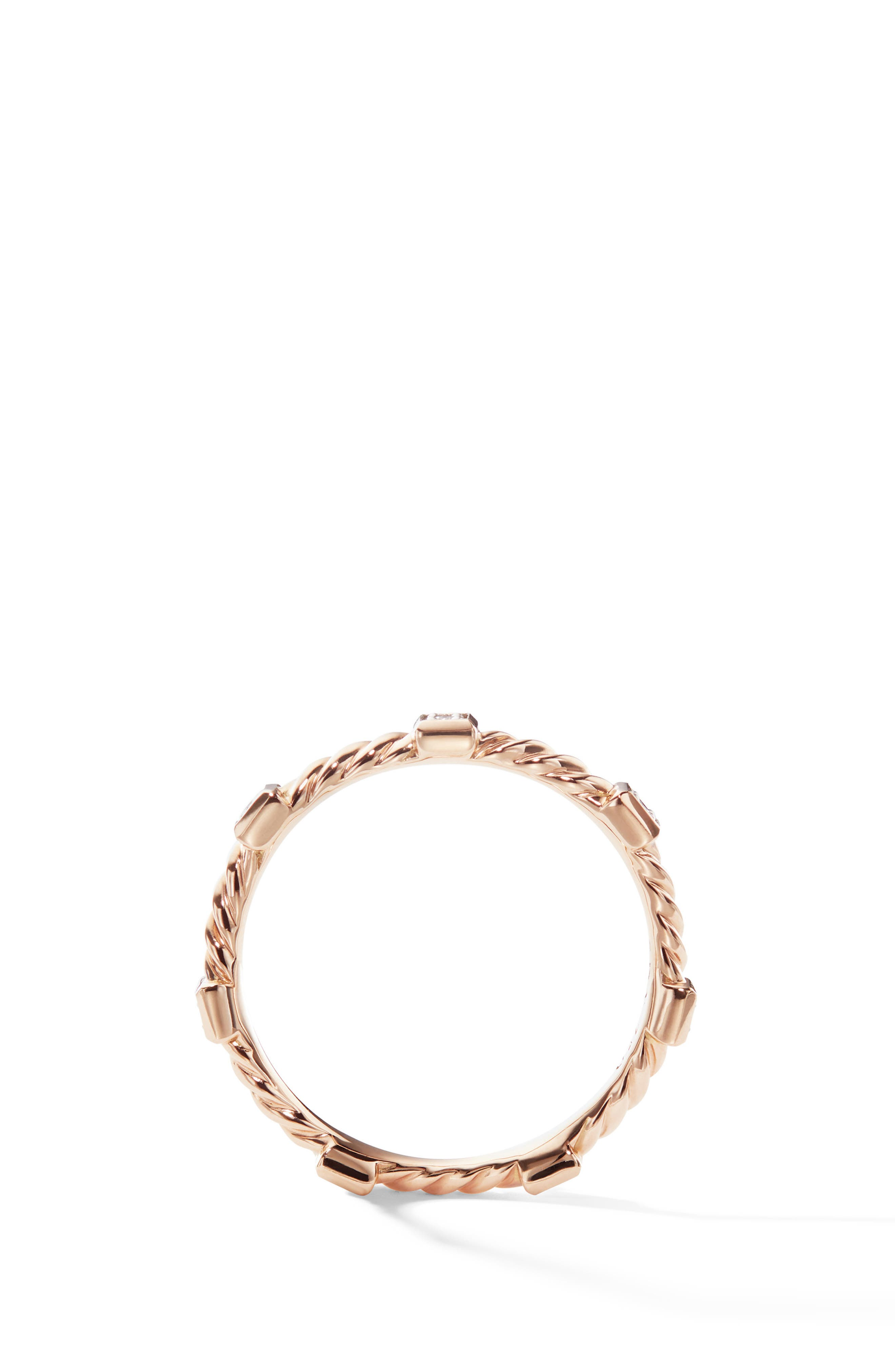 Cable Stack Ring in 18K Rose Gold with Diamonds,                             Alternate thumbnail 2, color,                             ROSE GOLD/ DIAMOND
