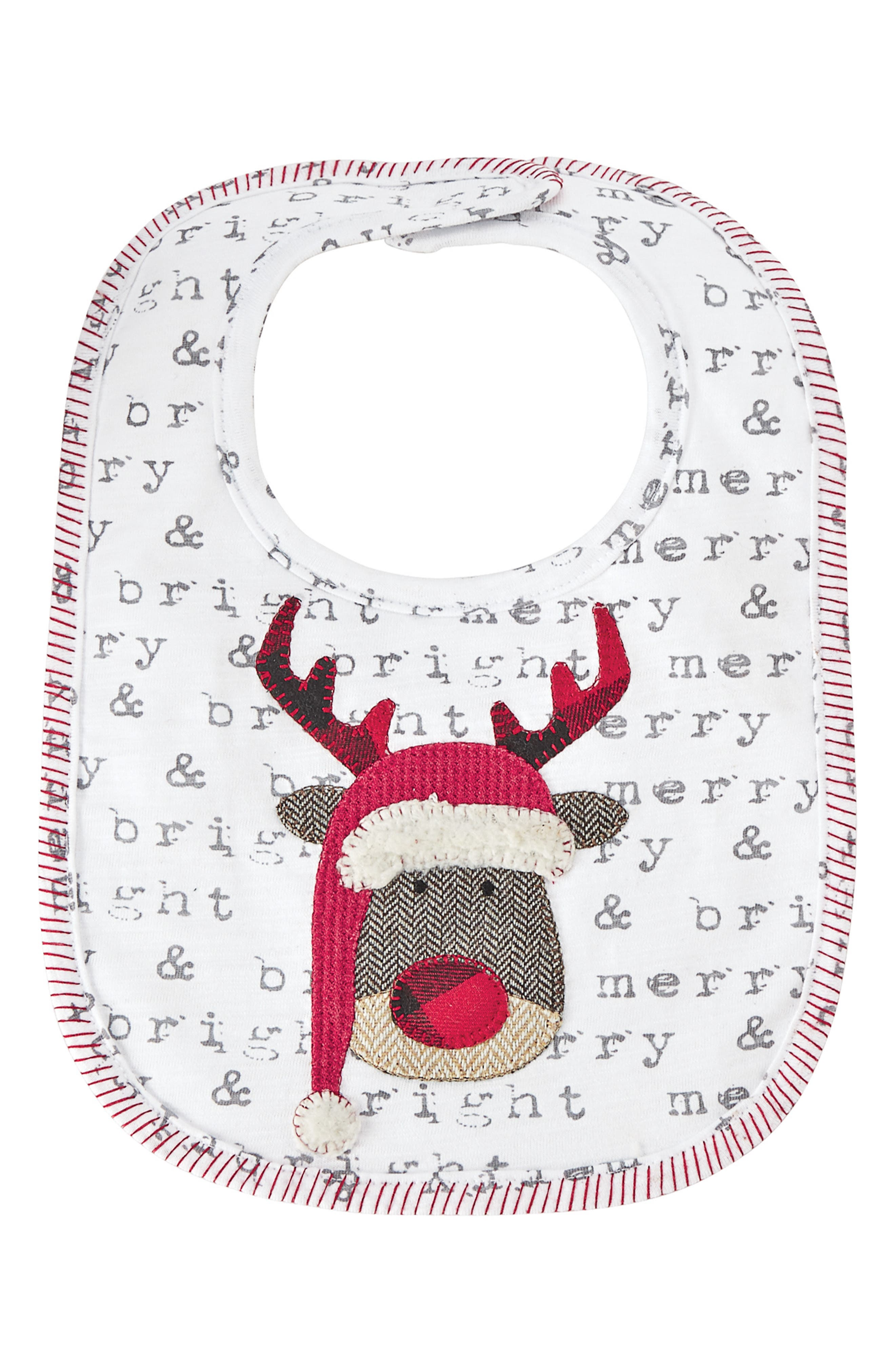 Infant Mud Pie Reindeer Alpine Bib Size One Size  Grey