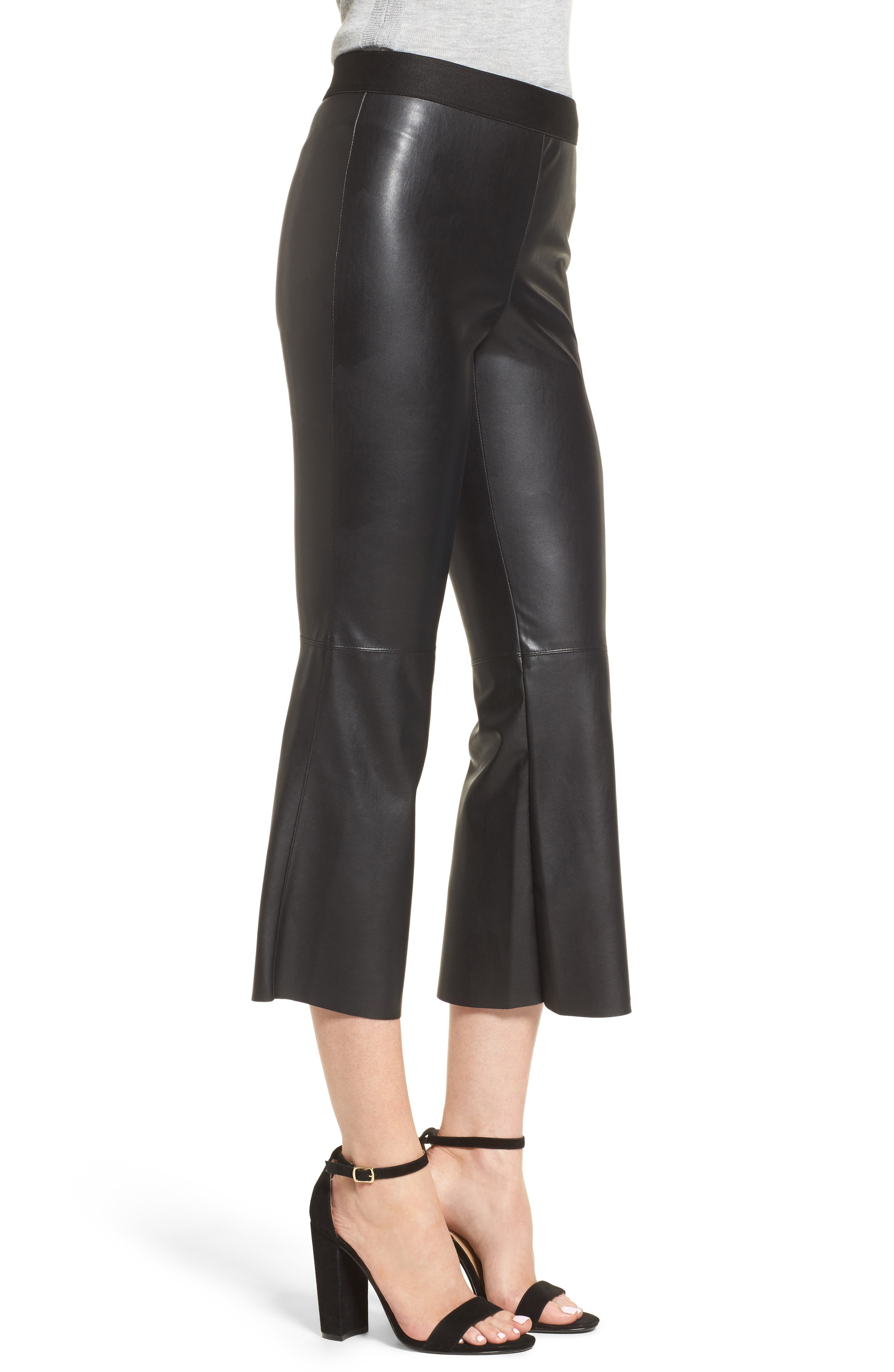 Lupine Crop Flare Faux Leather Pants,                             Alternate thumbnail 3, color,                             001