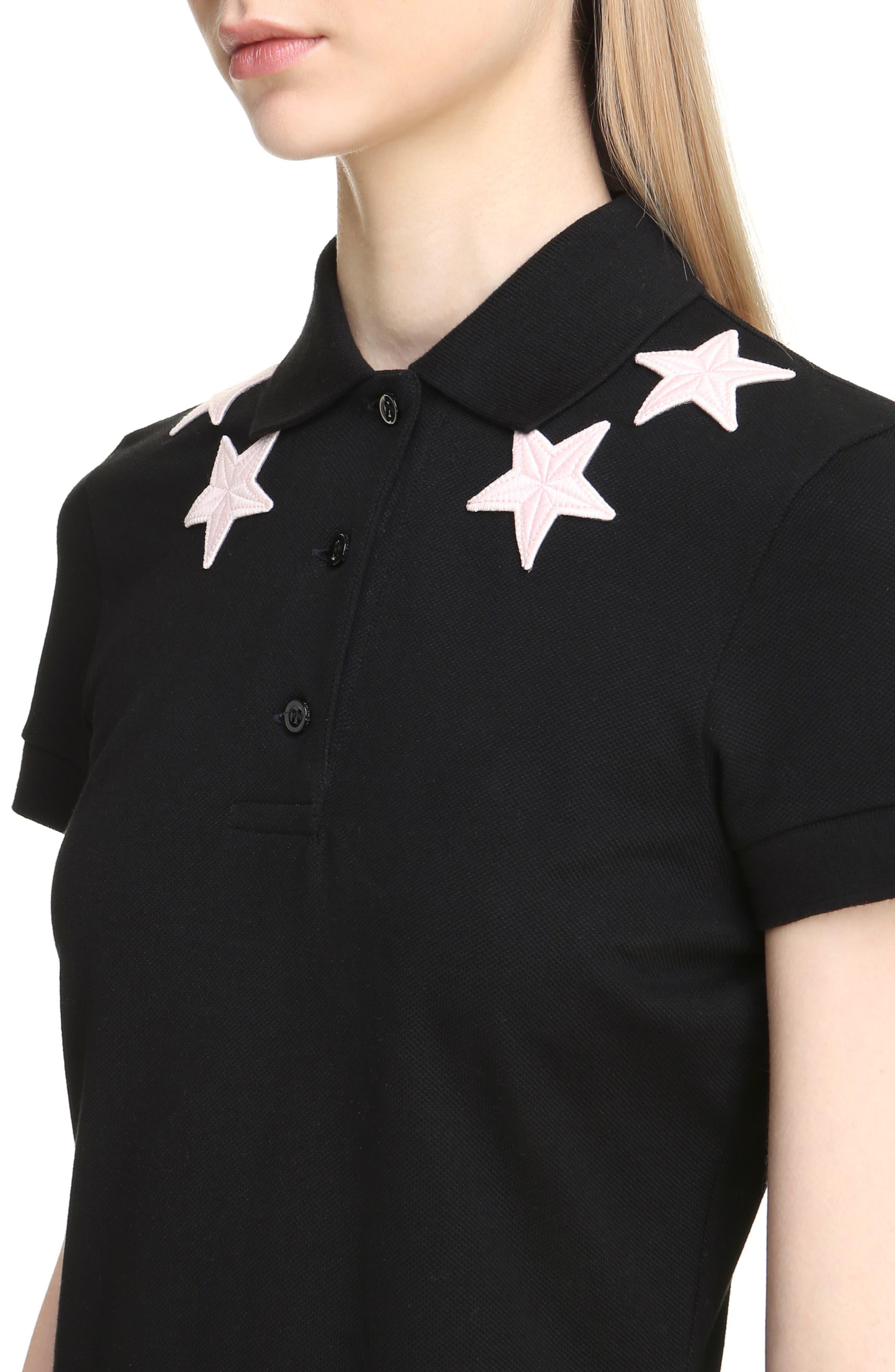 Star Embellished Polo Dress,                             Alternate thumbnail 4, color,                             001