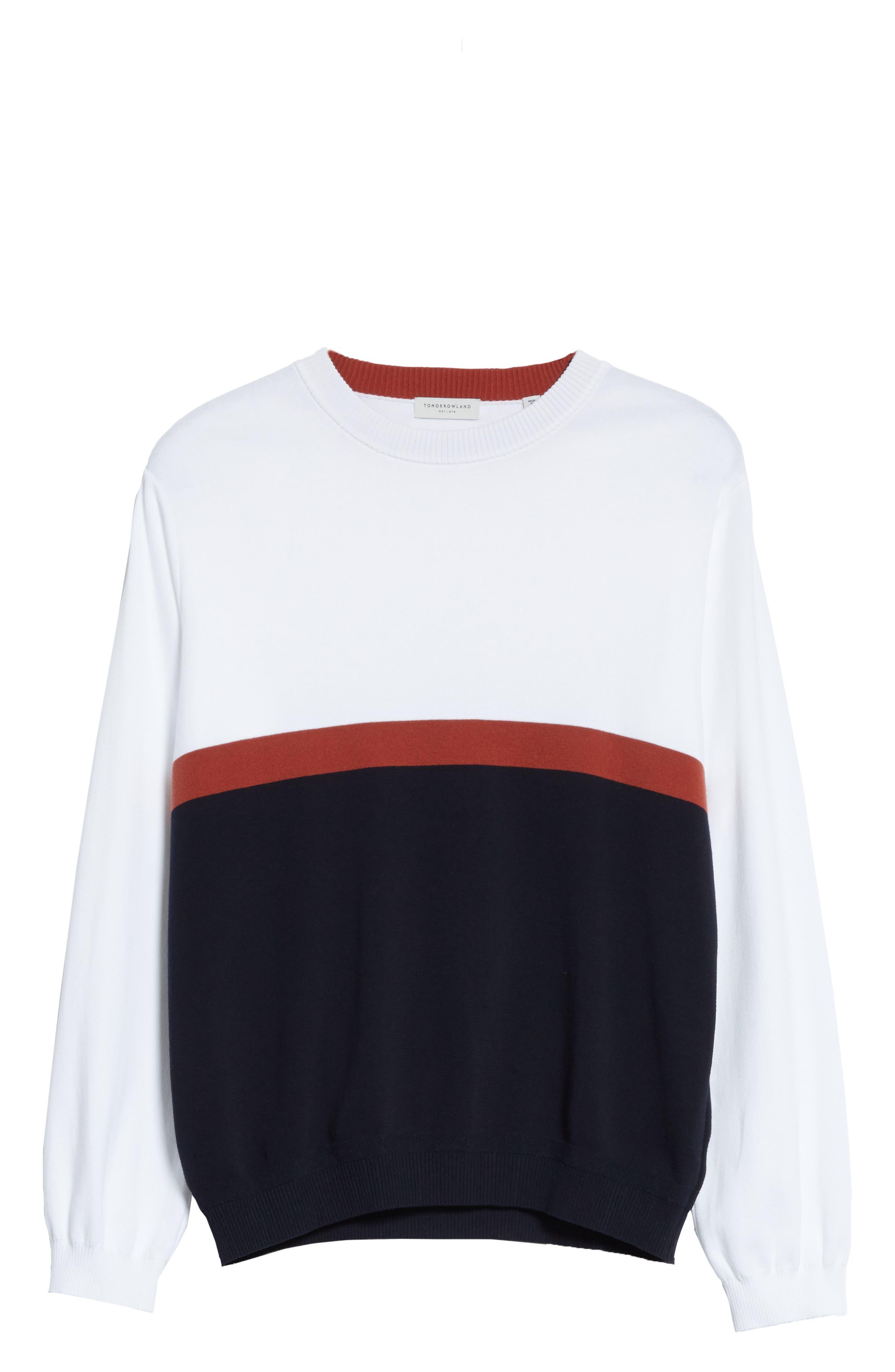 Colorblock Crewneck Sweater,                             Alternate thumbnail 6, color,                             100