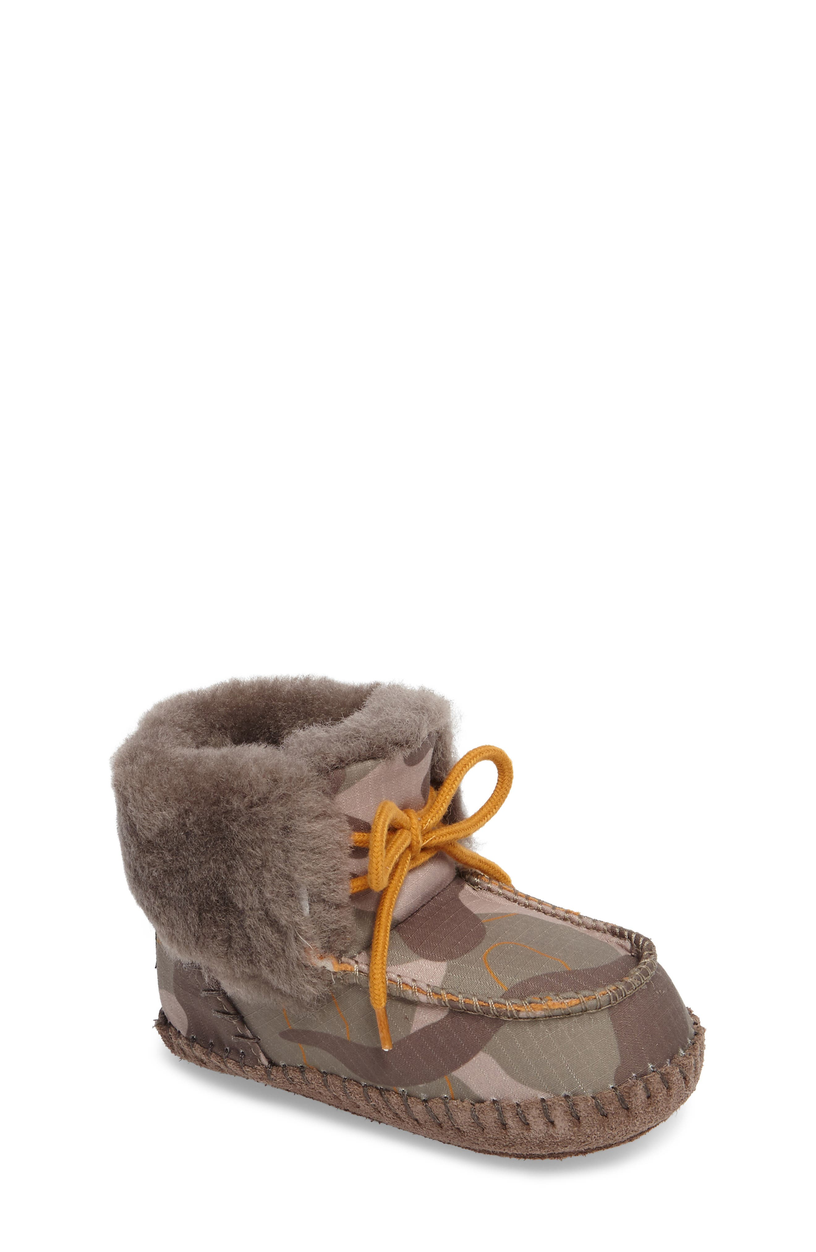 Sparrow Camo Genuine Shearling Moccasin Bootie,                             Main thumbnail 1, color,                             020