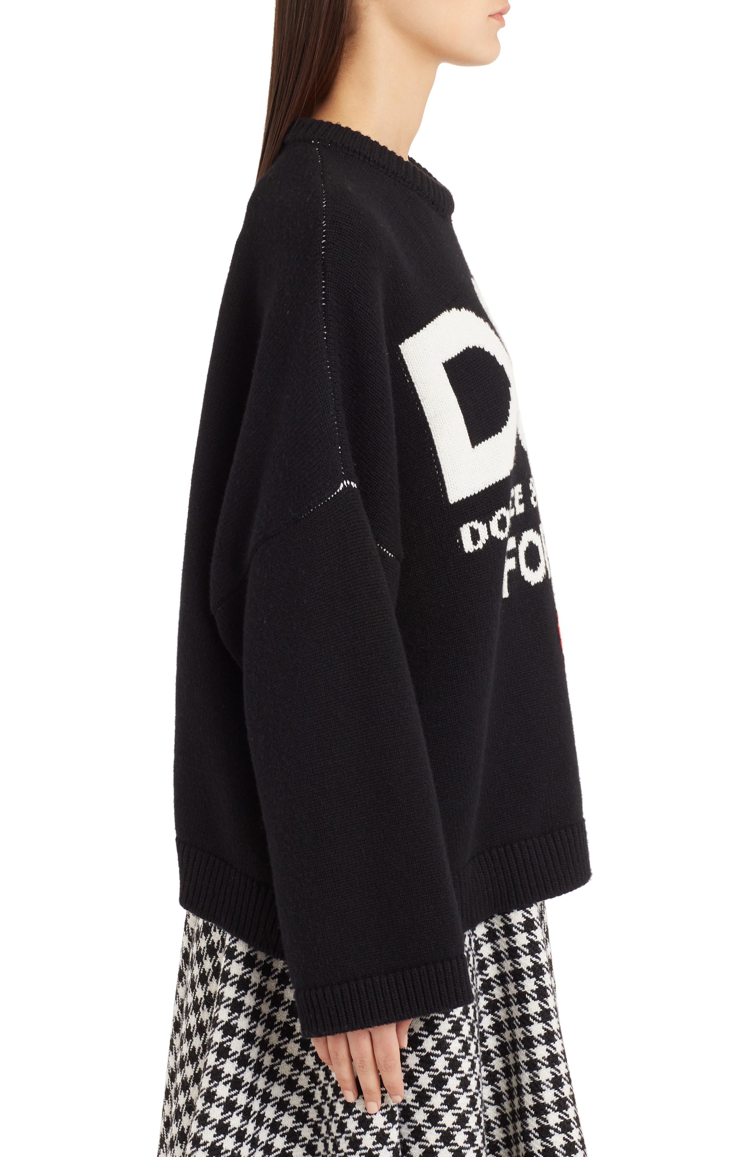 DOLCE&GABBANA,                             Intarsia Logo Cashmere Sweater,                             Alternate thumbnail 3, color,                             BLACK