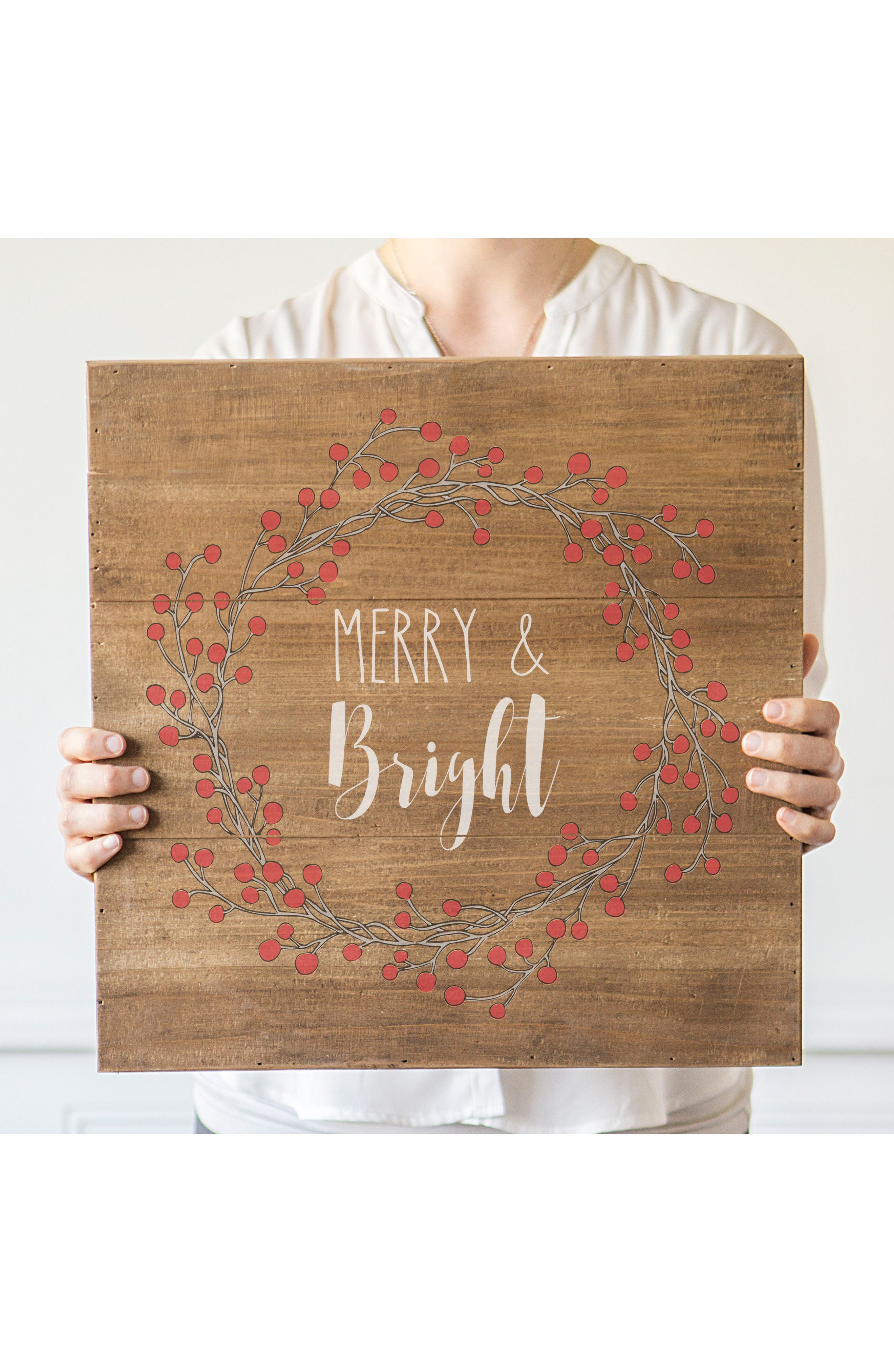 Merry & Bright Wood Sign,                             Alternate thumbnail 5, color,