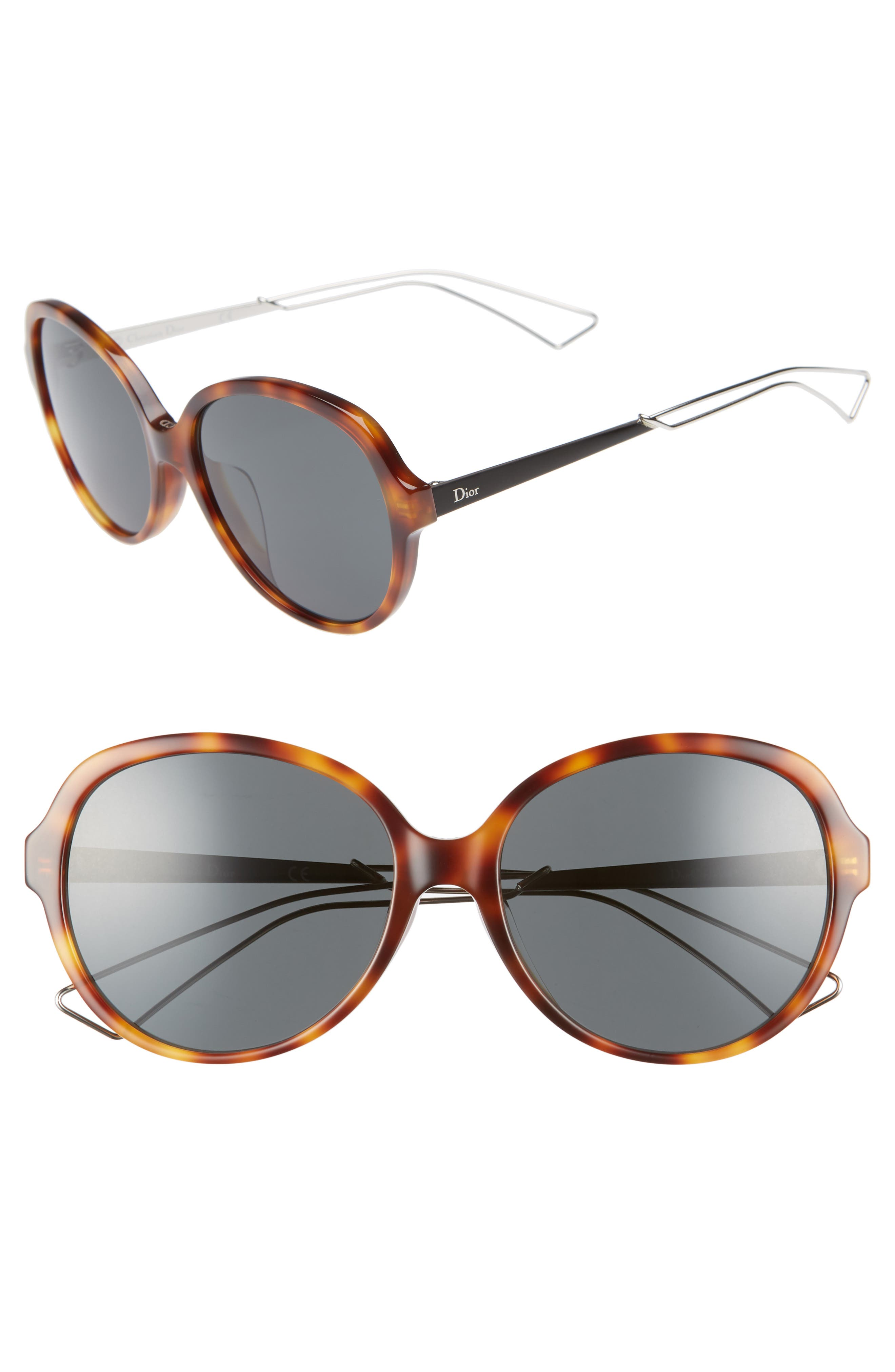 Confident 58mm Round Sunglasses,                             Main thumbnail 1, color,                             HAVANA/ PALLADIUM
