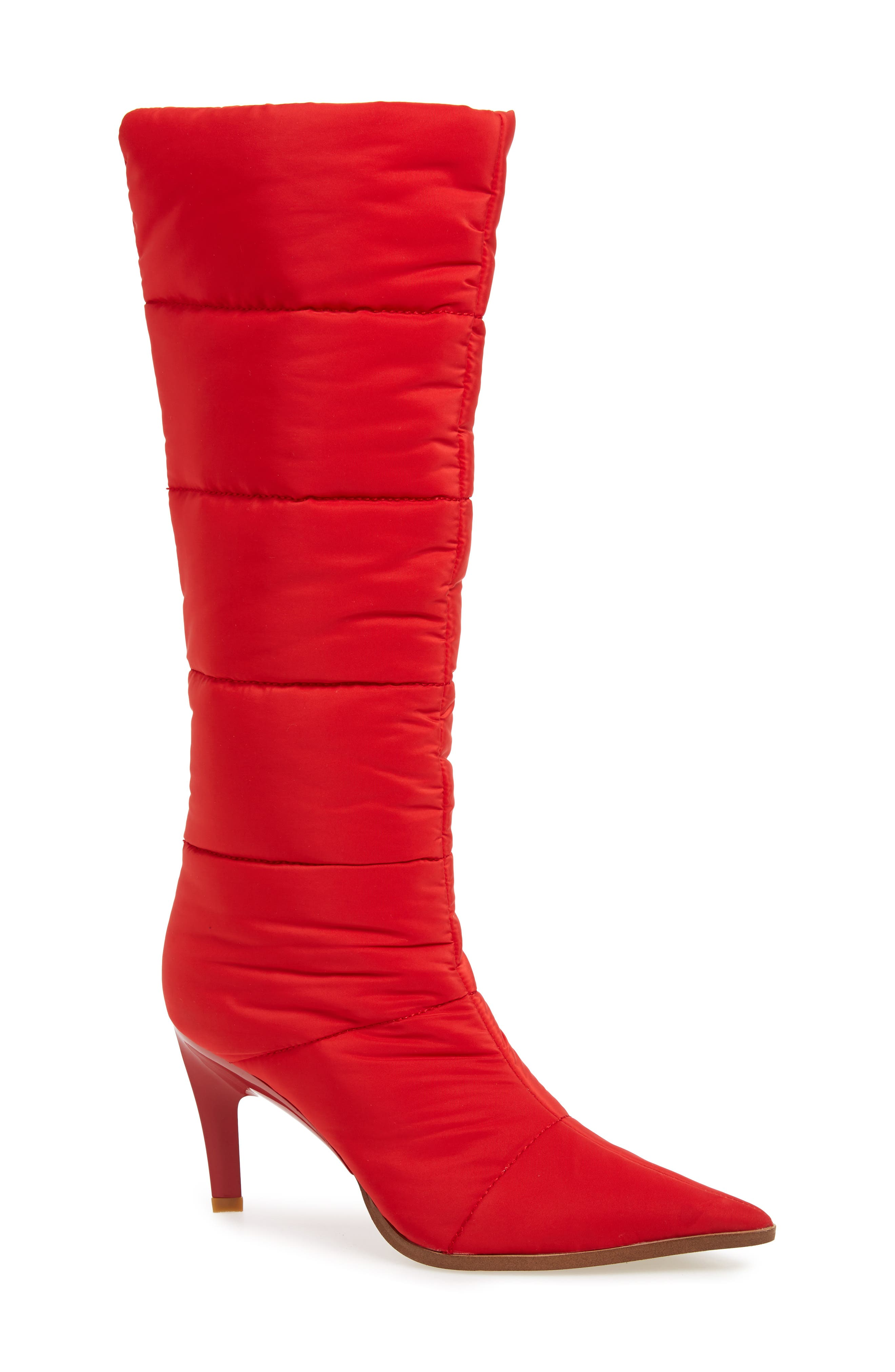 Apris Knee High Puffer Boot,                             Main thumbnail 1, color,                             RED FABRIC
